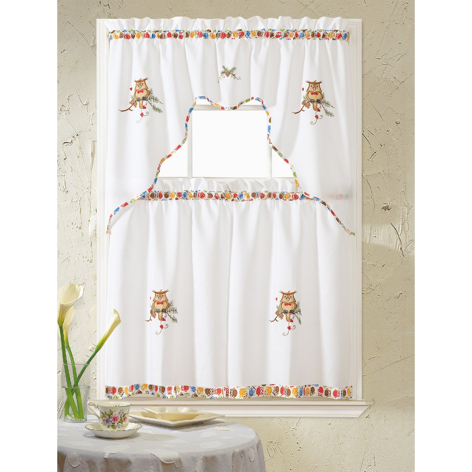 Current Rt Designers Collection Grand Owl Embroidered Kitchen Throughout Urban Embroidered Tier And Valance Kitchen Curtain Tier Sets (View 8 of 20)