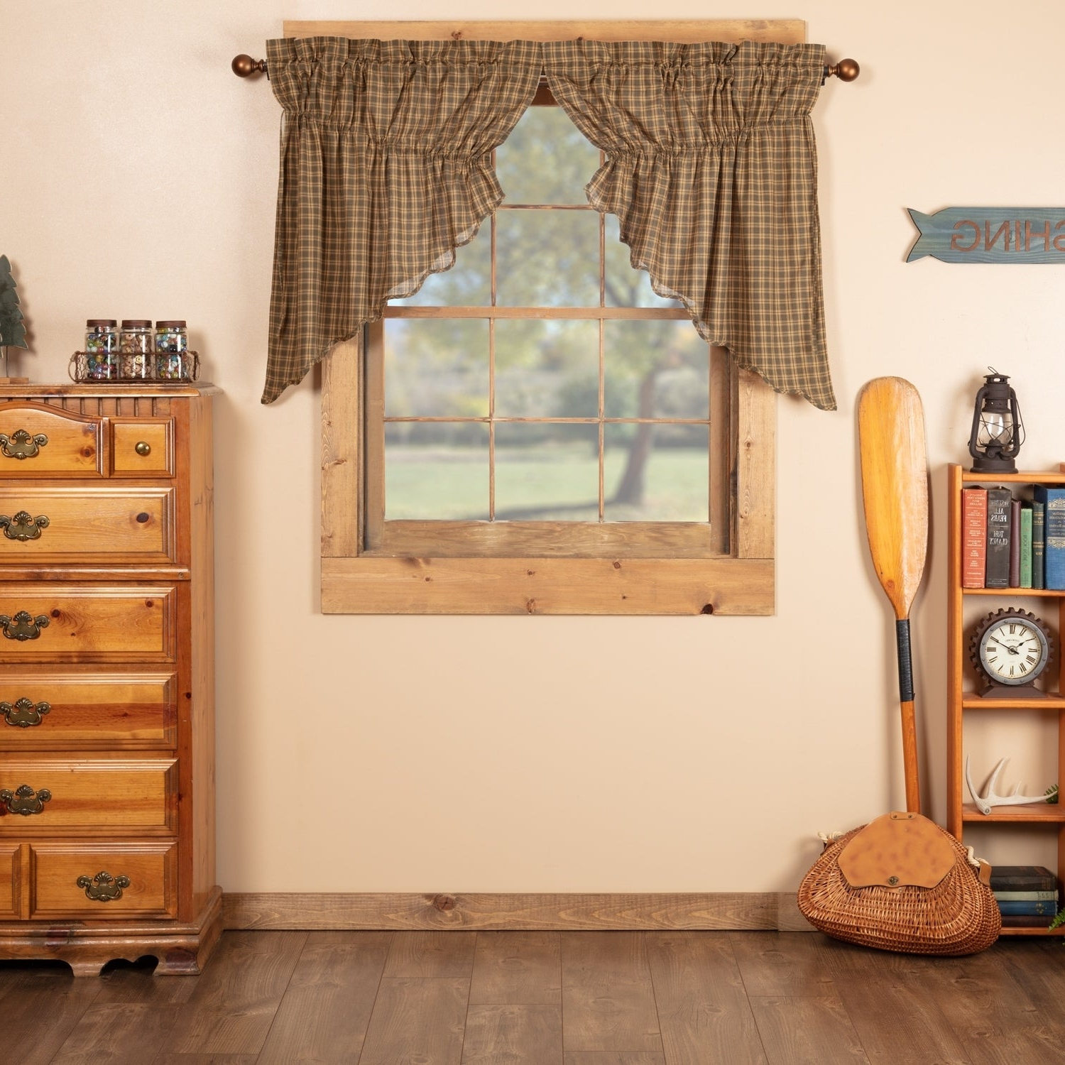 Current Rustic Kitchen Curtains Intended For Details About Green Rustic Kitchen Curtains Vhc Cedar Ridge Prairie Swag Cedar Green, Natural, (View 6 of 20)