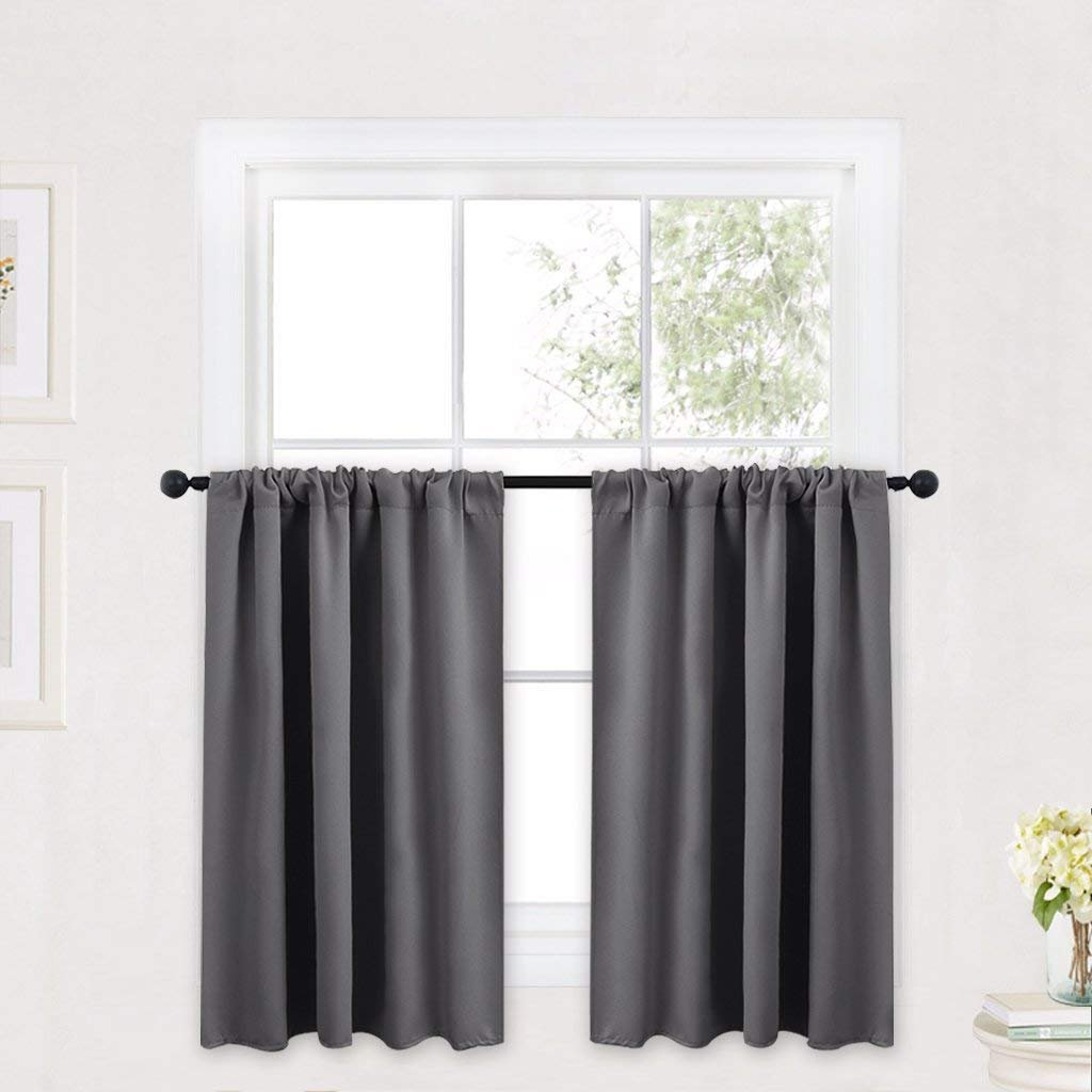 Current Ryb Home Short Curtains Gray Half Window Curtains For Bedroom, Thermal Insulated Privacy Curtain Tiers For Kitchen Cafe Bathroom Shades, Wide 42 X Inside Porch & Den Park Point Blush 24 Inch Tier Pairs (View 20 of 20)