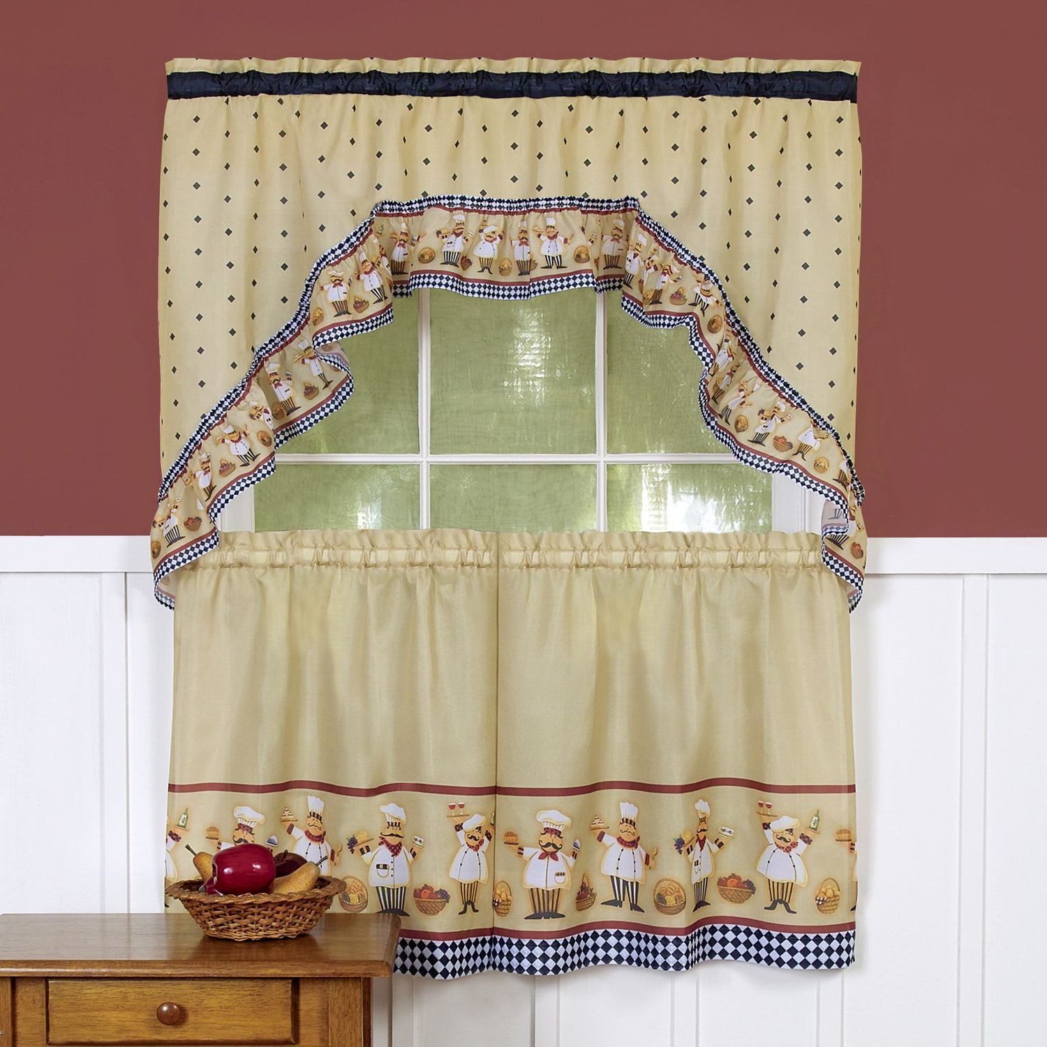 Current Traditional Two Piece Tailored Tier And Swag Window Curtains Inside Tailored Valance And Tier Curtains (View 10 of 20)