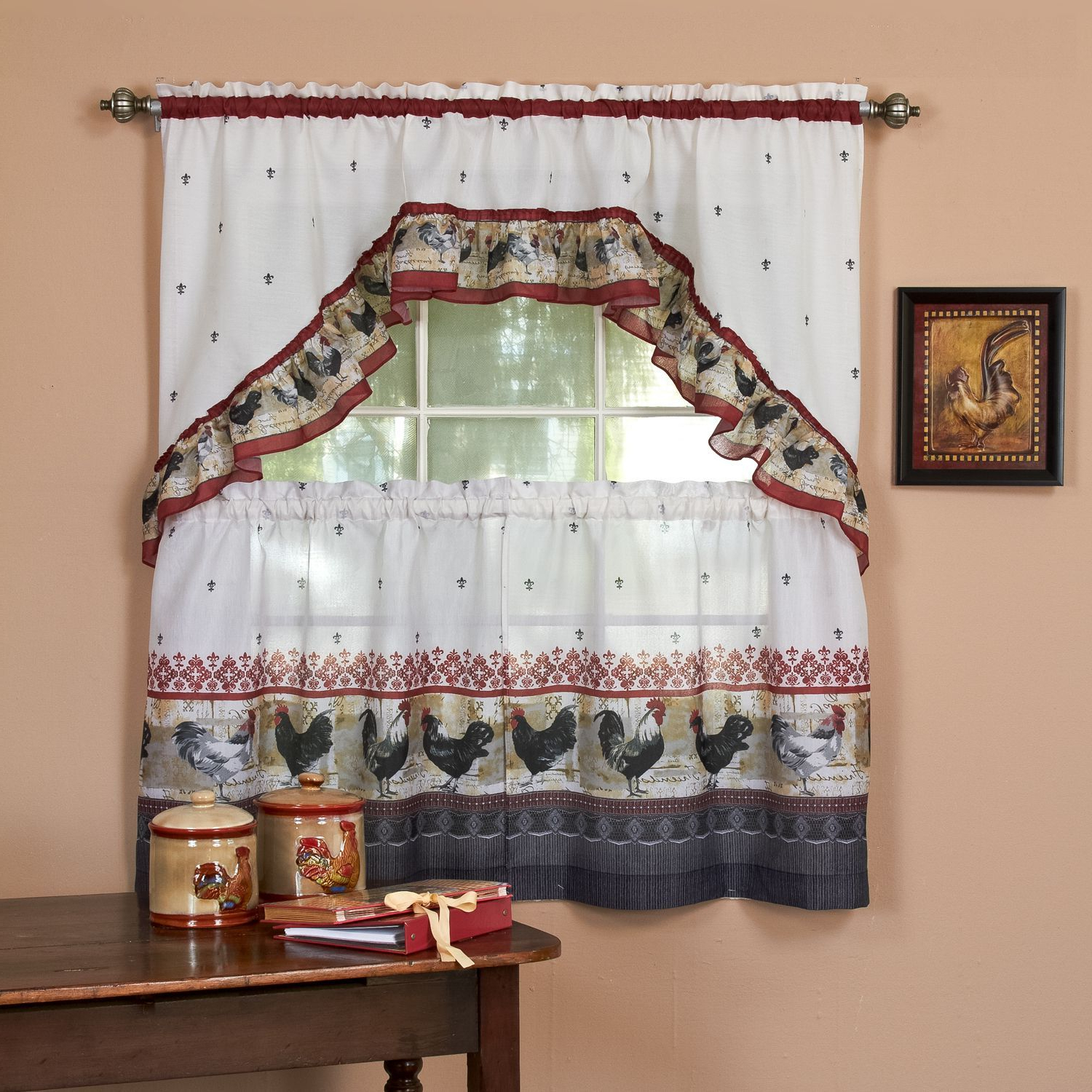 Featured Photo of Traditional Two Piece Tailored Tier And Swag Window Curtains Sets With Ornate Rooster Print