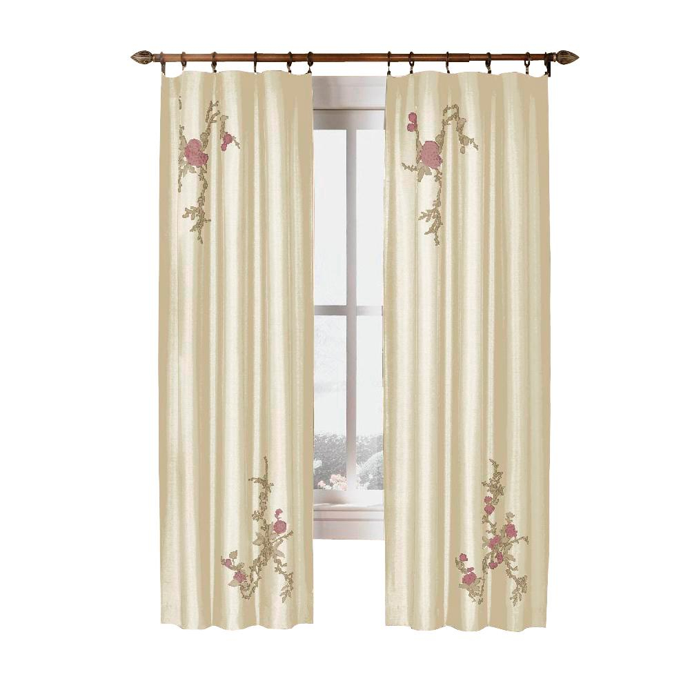 Current Upc 076389970579 – Curtainworks Curtains & Drapes Asia Ivory Regarding Floral Embroidered Faux Silk Kitchen Tiers (View 10 of 20)