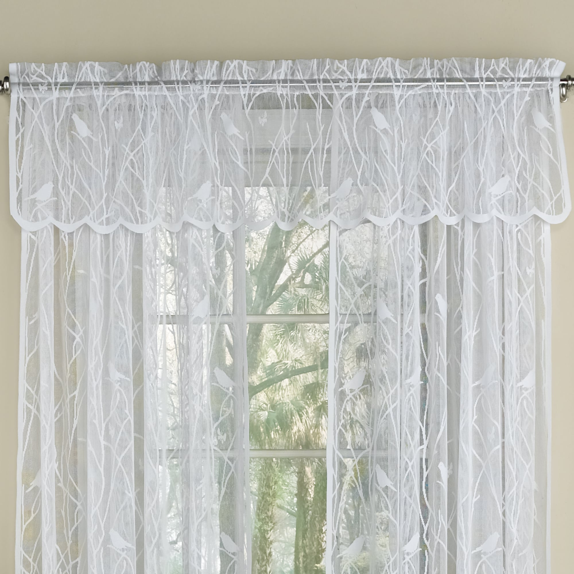 Current White Knit Lace Bird Motif Window Curtain Tiers For Sweet Home Collection White Knit Lace Bird Motif Window Curtain Tiers, Valance And Swag Pair Options (View 3 of 20)