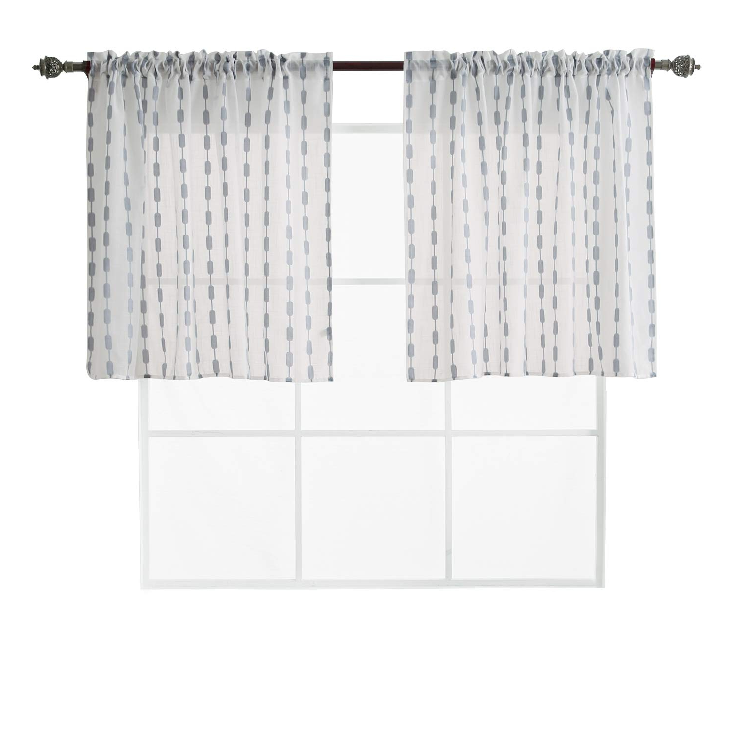 Deconovo Rod Pocket Semi Sheer Tier Curtains Textured Woven Tier Curtains Jacquard Sheer Curtain Panels For 52 X 36 Inch Grey 2 Panels With Regard To Popular Linen Stripe Rod Pocket Sheer Kitchen Tier Sets (View 8 of 20)