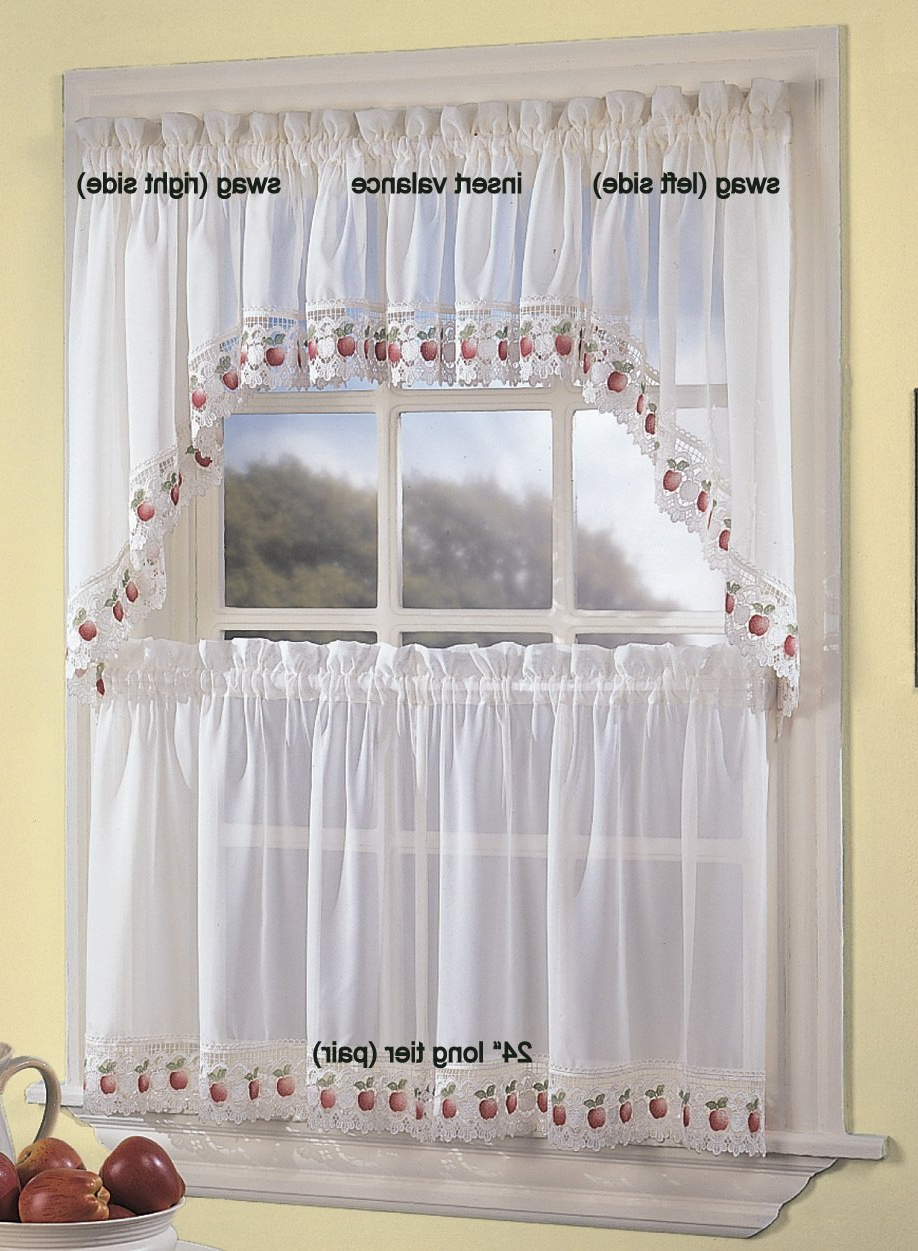 Delicious Apples Kitchen Curtain Tier And Valance Sets In Latest Chf Industries Apple Orchard Kitchen Curtain – 24'' Tier (Pr) (View 3 of 20)