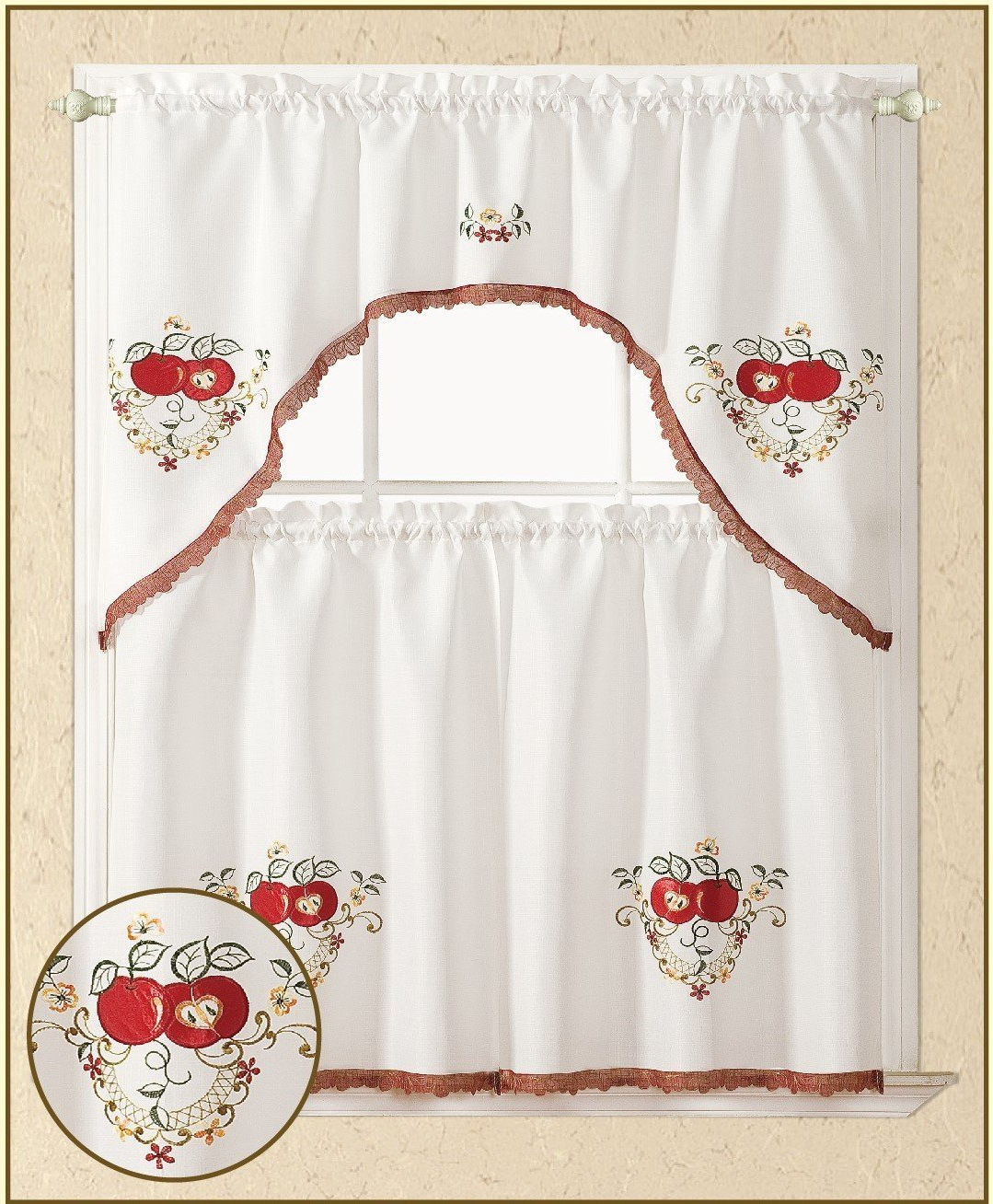 Delicious Apples Kitchen Curtain Tier And Valance Sets Intended For Current All American Collection 3pc Apples Kitchen Curtain Set (View 11 of 20)