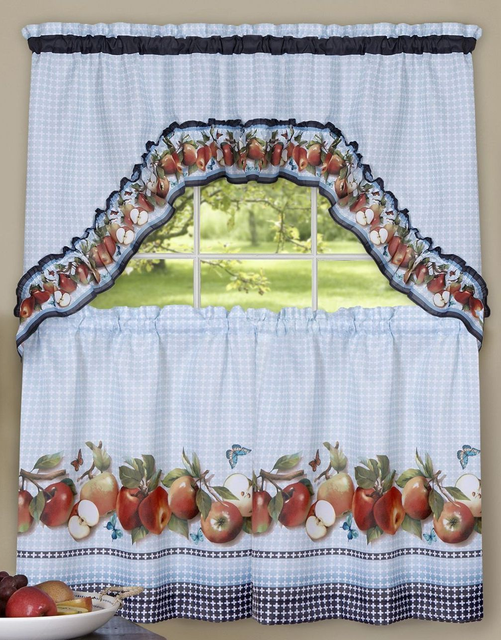 "Delicious Apples Kitchen Curtain Tier And Valance Sets Pertaining To Fashionable 3 Pc Curtains Set: 2 Tiers & Swag (57""x30"") And 18 Similar Items (View 13 of 20)"