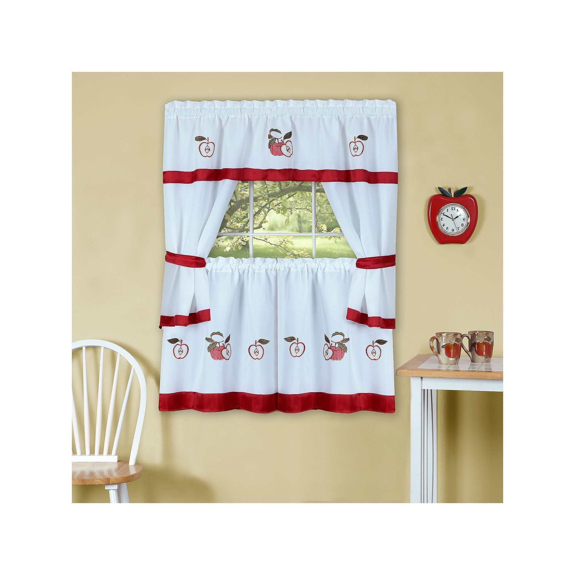 Delicious Apples Kitchen Curtain Tier And Valance Sets Throughout 2020 Achim Gala Tier Kitchen Window Curtain Set, Red, 58x36 In (View 10 of 20)