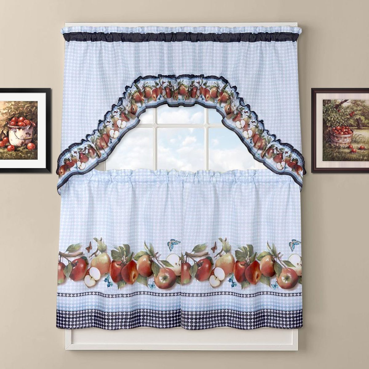 Featured Photo of Delicious Apples Kitchen Curtain Tier And Valance Sets