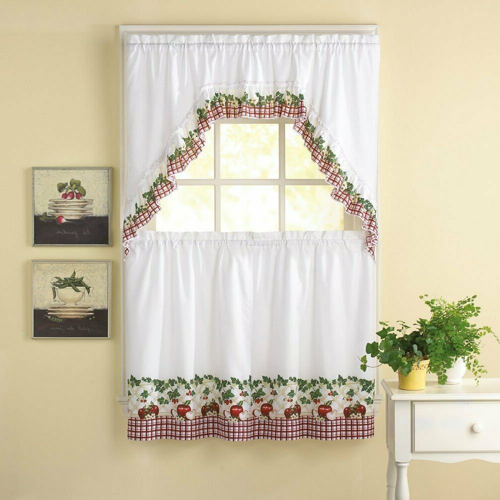 Delicious Apples Kitchen Curtain Tier And Valance Sets With Widely Used Apple Blossom 24L Tier And Swag Valance Set Kitchen Curtains (View 10 of 20)