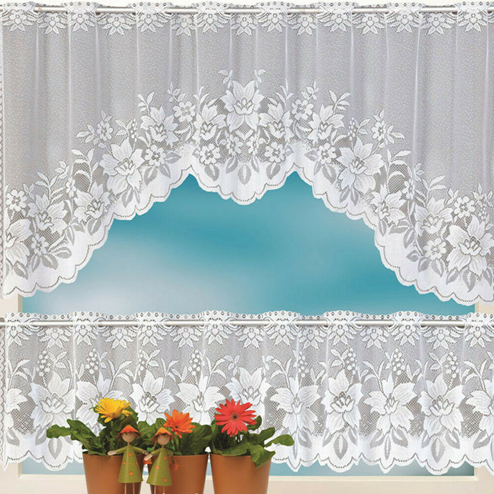 Details About 2pcs Floral Lace Semi Sheer Kitchen Curtain Choice Tier Valance Swag White F In Most Popular Floral Lace Rod Pocket Kitchen Curtain Valance And Tiers Sets (View 6 of 20)