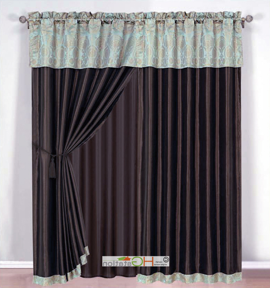 Details About 4 Pc Damask Medallion Clamshell Jacquard Curtain Set Seafoam Blue Valance Drape Inside Most Recently Released Medallion Window Curtain Valances (View 13 of 20)