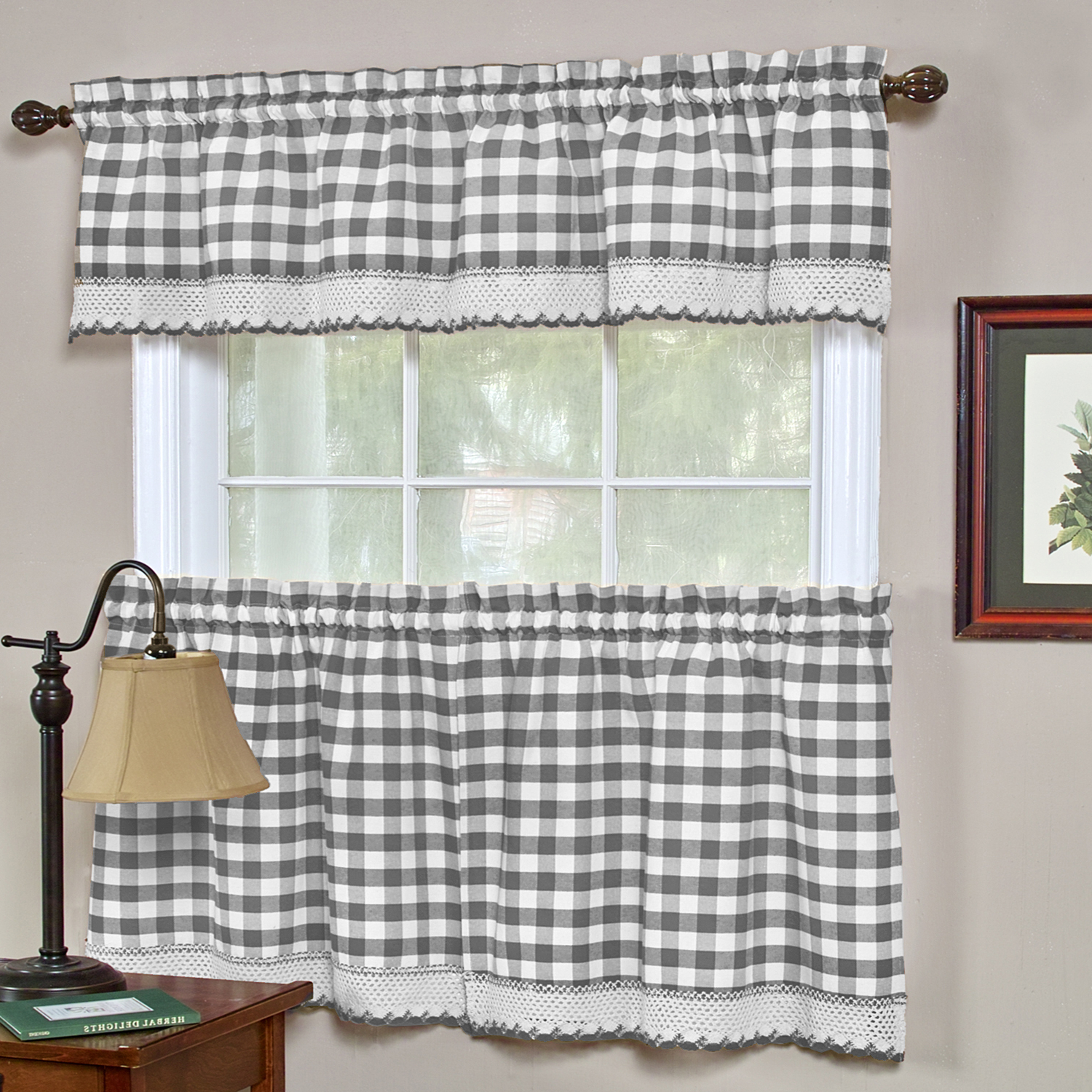 Details About Buffalo Check Gingham Kitchen Curtains Tiers Or Valance – Gray Throughout Recent Cotton Blend Classic Checkered Decorative Window Curtains (View 12 of 20)