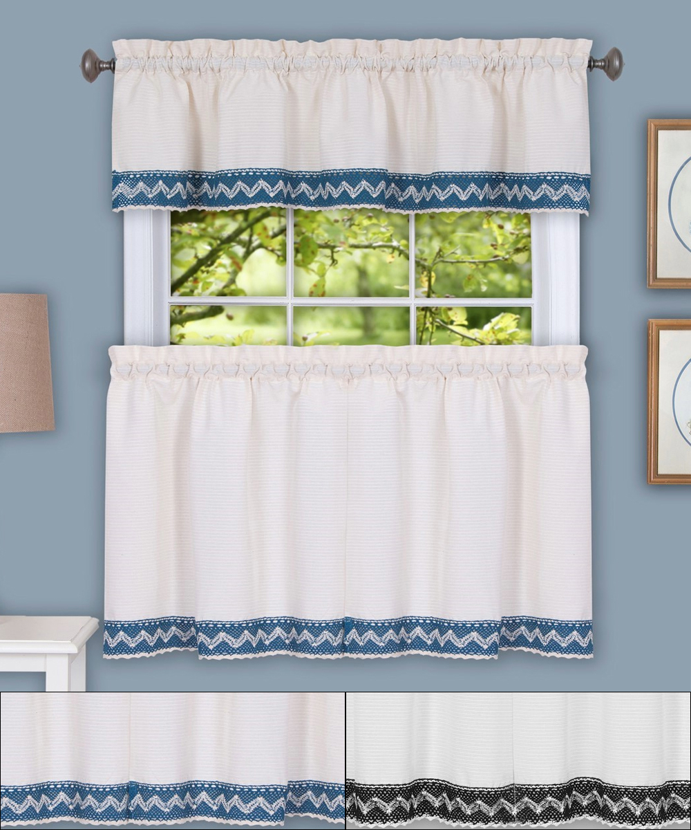 "Details About Camden Macrame Trimmed Kitchen Window Curtain 24"" Tiers & Valance Set With Current Pintuck Kitchen Window Tiers (View 10 of 20)"