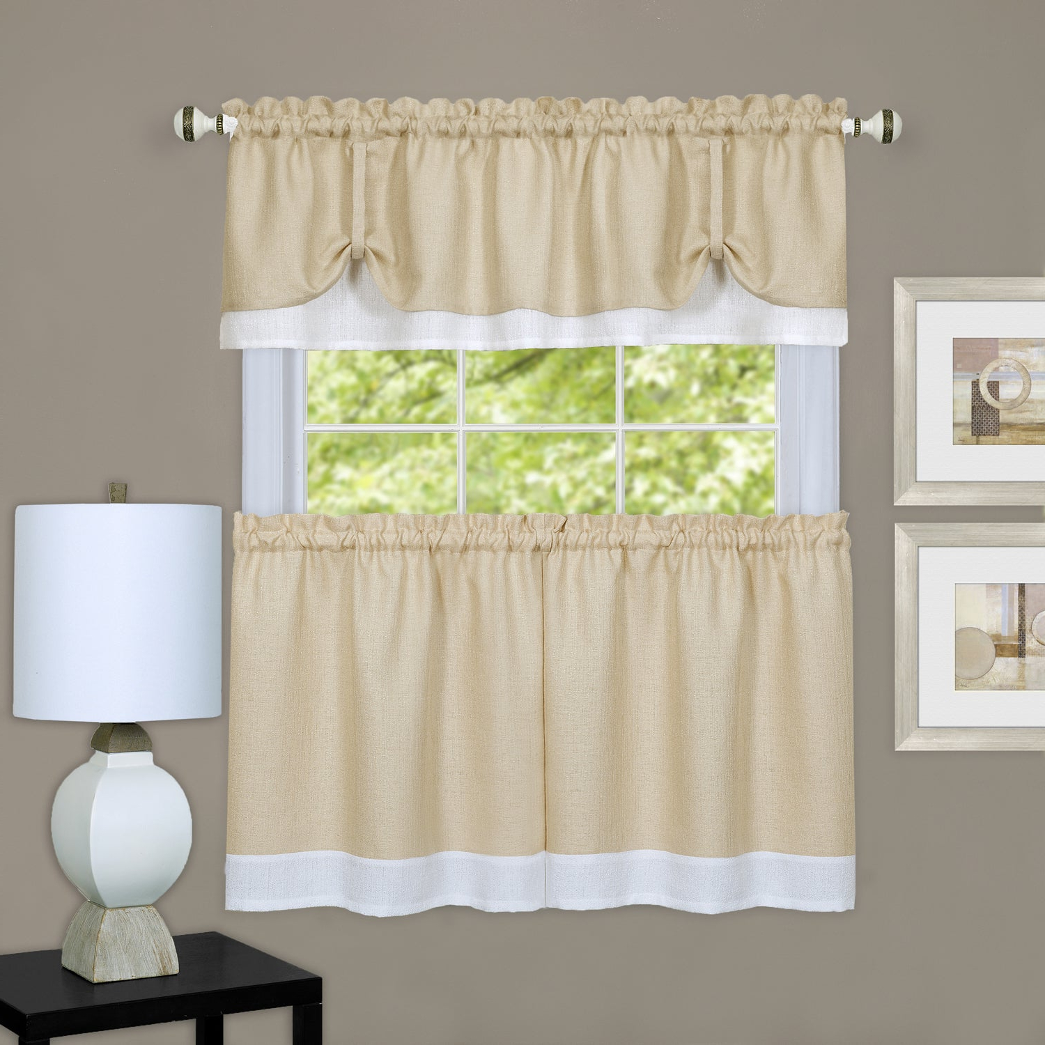 Details About Double Layer Tie Up Tan/ White 3 Piece Tier And Valance Window Curtain Set With Regard To Famous Barnyard Window Curtain Tier Pair And Valance Sets (View 20 of 20)
