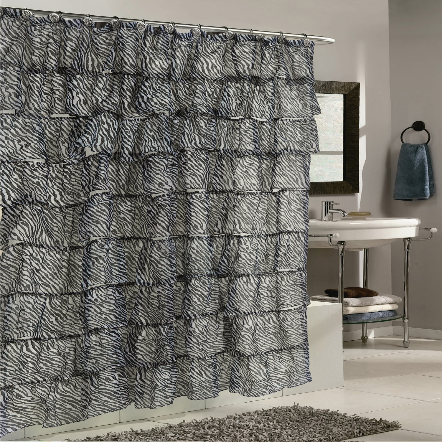 "Details About Elegant Zebra Pattern Crushed Voile Ruffled Tier Shower Curtain 70"" X 72"" Intended For Well Liked Elegant Crushed Voile Ruffle Window Curtain Pieces (View 12 of 20)"