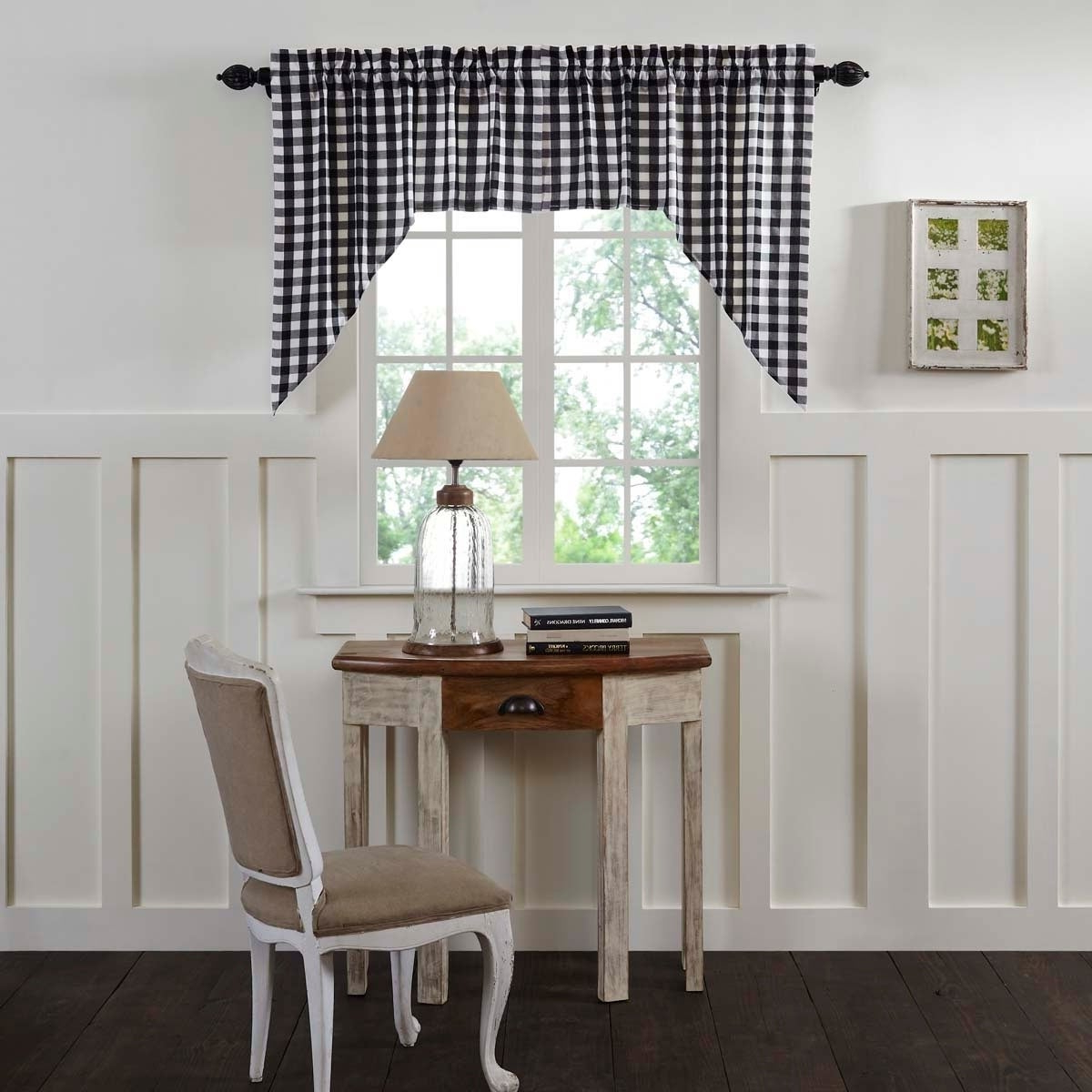 Details About Farmhouse Kitchen Curtains Vhc Annie Buffalo Check Swag Pair With Most Recent Farmhouse Kitchen Curtains (View 3 of 20)
