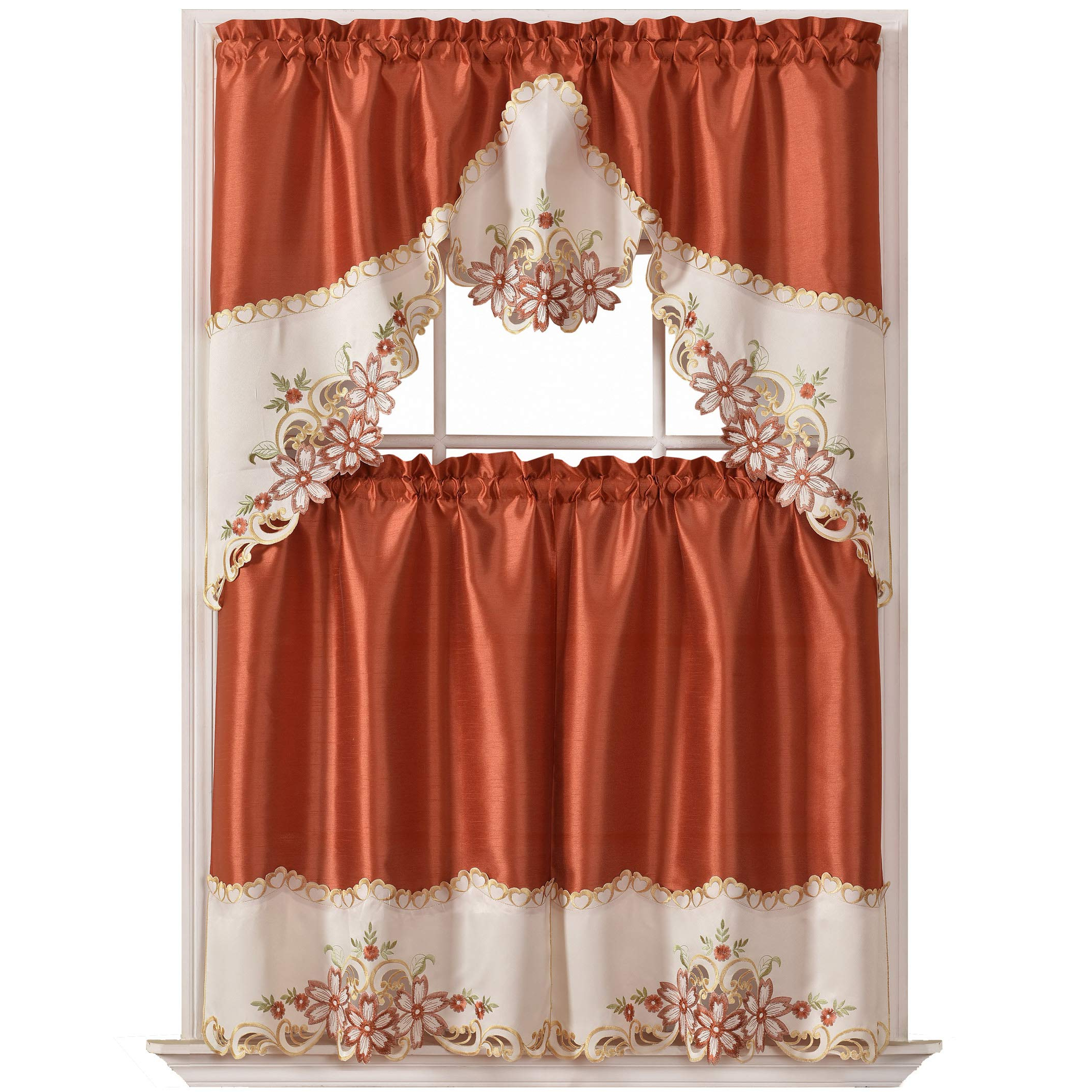 Details About Gohd Arch Floral Kitchen Curtain Set/swag Valance Tier Set (View 10 of 20)