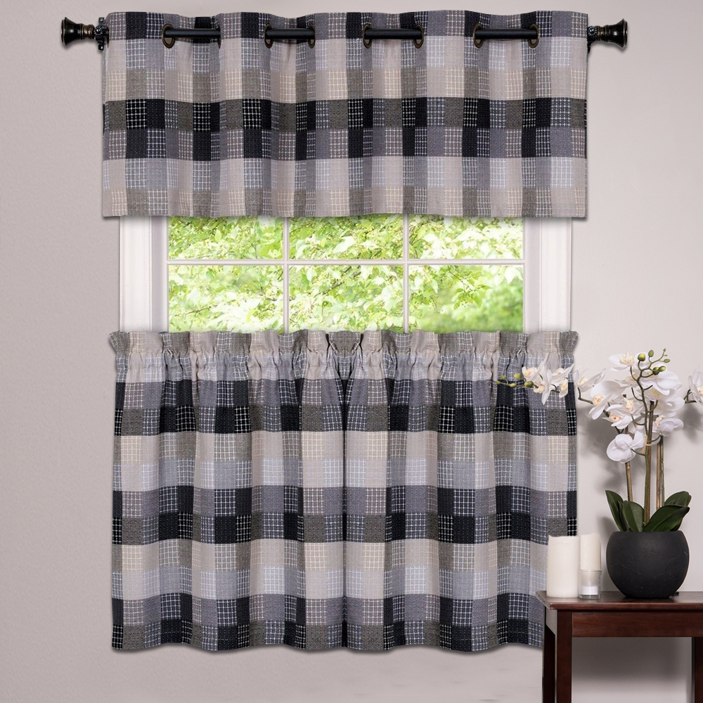 Details About Kitchen Window Curtain Classic Harvard Checkered, Tiers Or Valance Black With Fashionable Classic Navy Cotton Blend Buffalo Check Kitchen Curtain Sets (View 11 of 20)