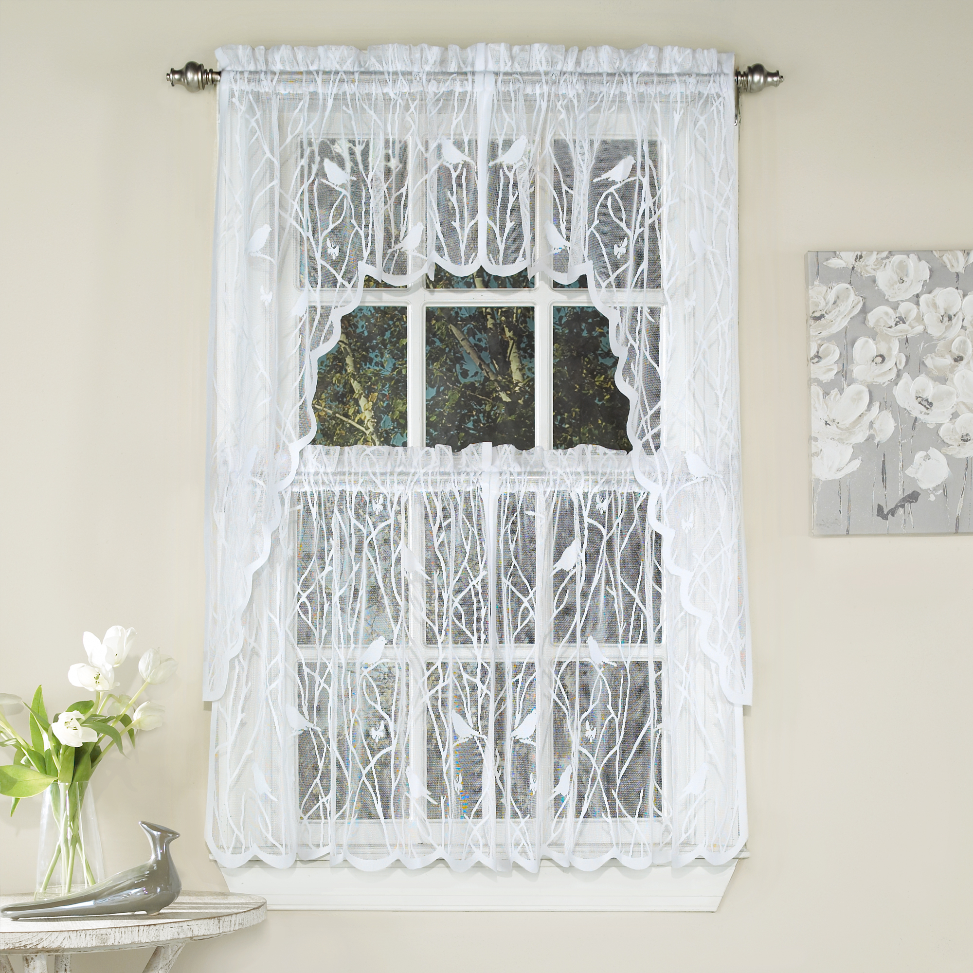 Featured Photo of White Knit Lace Bird Motif Window Curtain Tiers