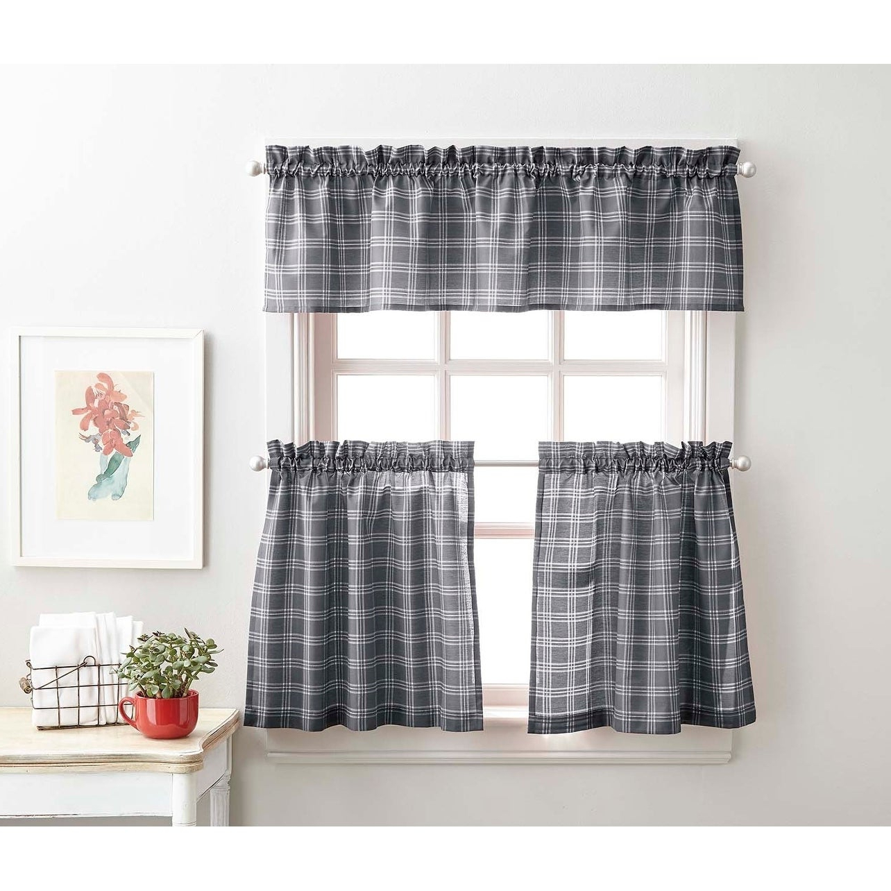 Details About Lodge Plaid 3 Piece Kitchen Curtain Tier And Valance Set – With Most Popular Abby Embroidered 5 Piece Curtain Tier And Swag Sets (View 7 of 20)
