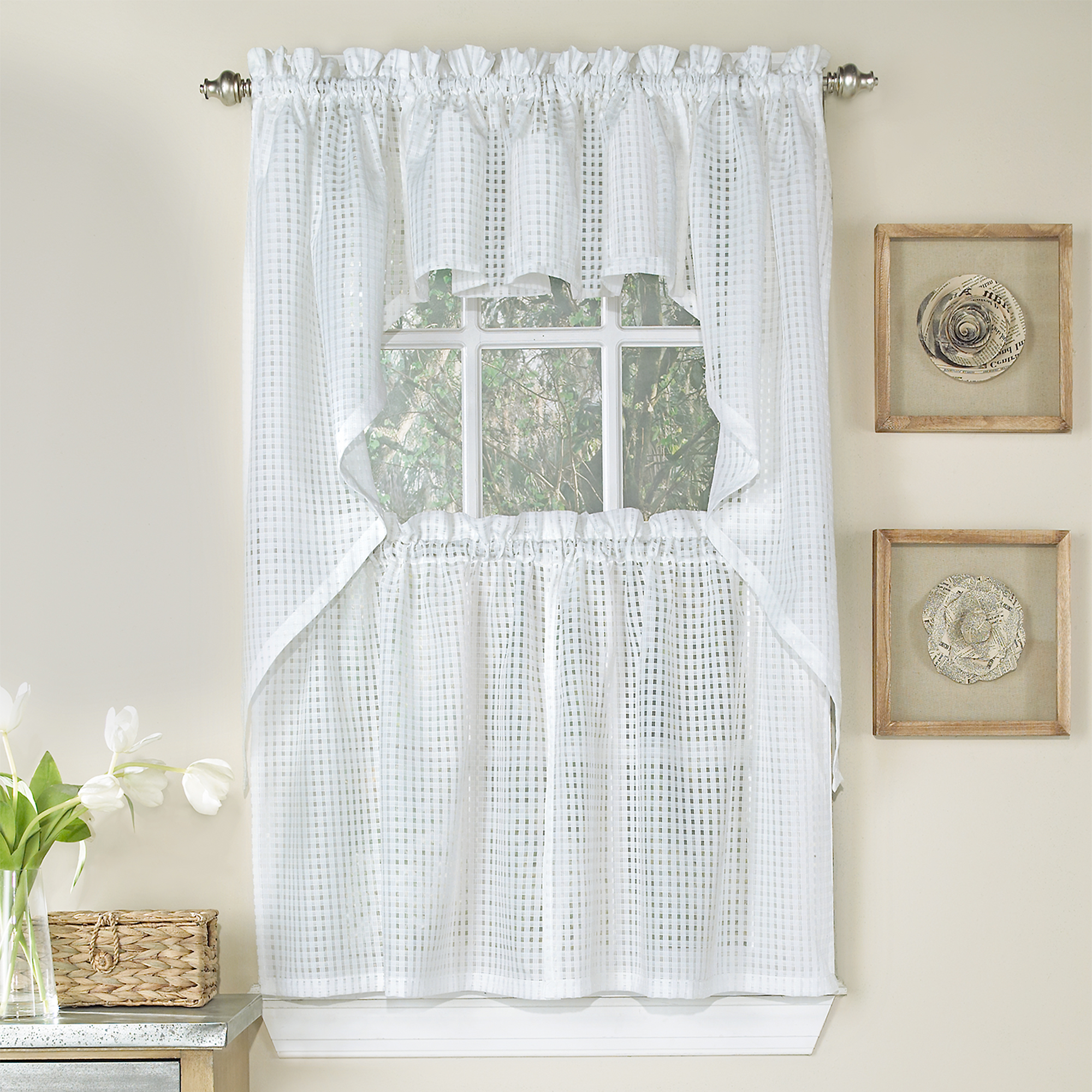Details About Micro Check 2 Tone White Semi Sheer Window Curtain Tiers, Valance, Or Swag For Well Known White Knit Lace Bird Motif Window Curtain Tiers (View 9 of 20)