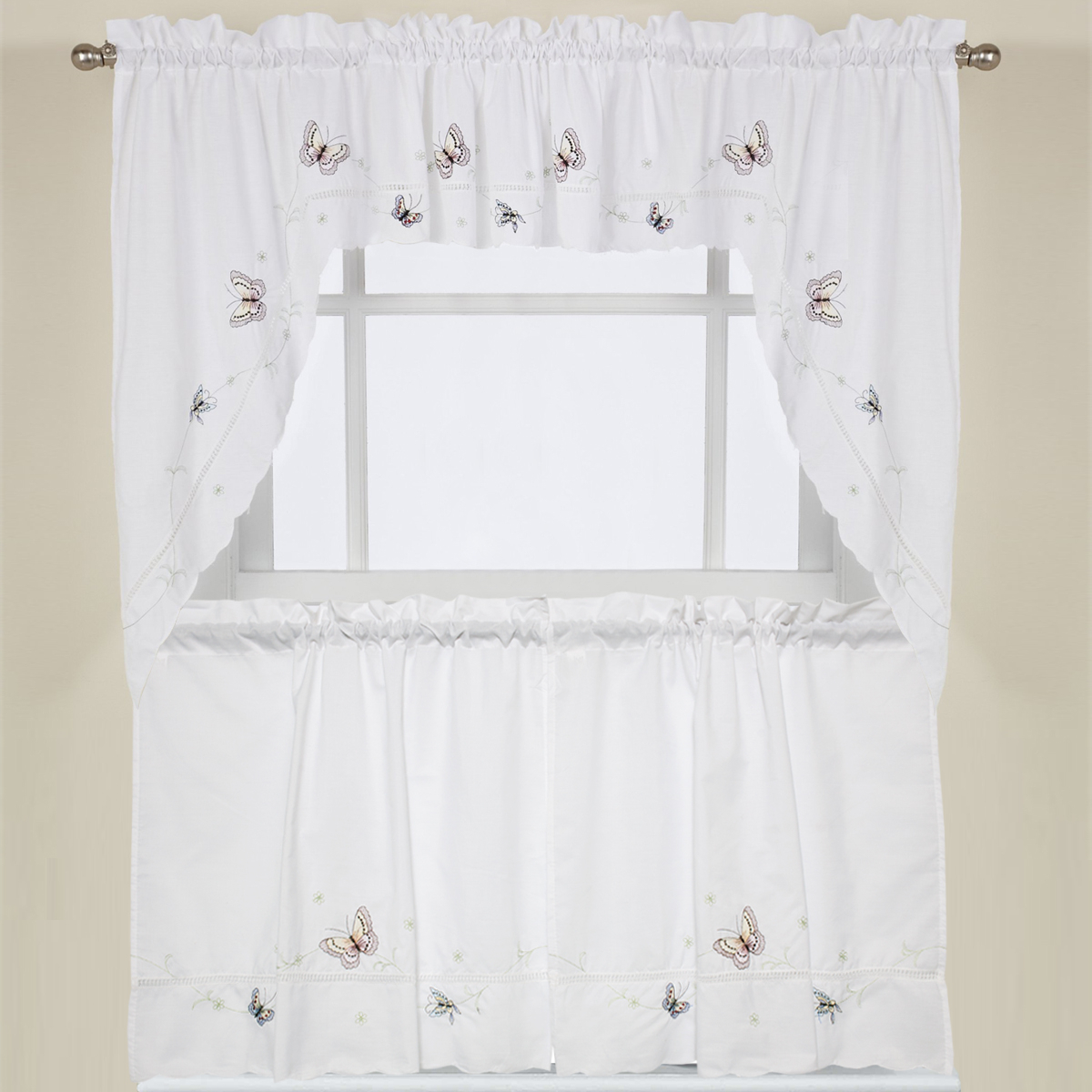 "Details About Monarch Butterfly White Kitchen Curtain Embroidered 24"" Tier, Swag & Valance Set Within Widely Used Urban Embroidered Tier And Valance Kitchen Curtain Tier Sets (View 18 of 20)"