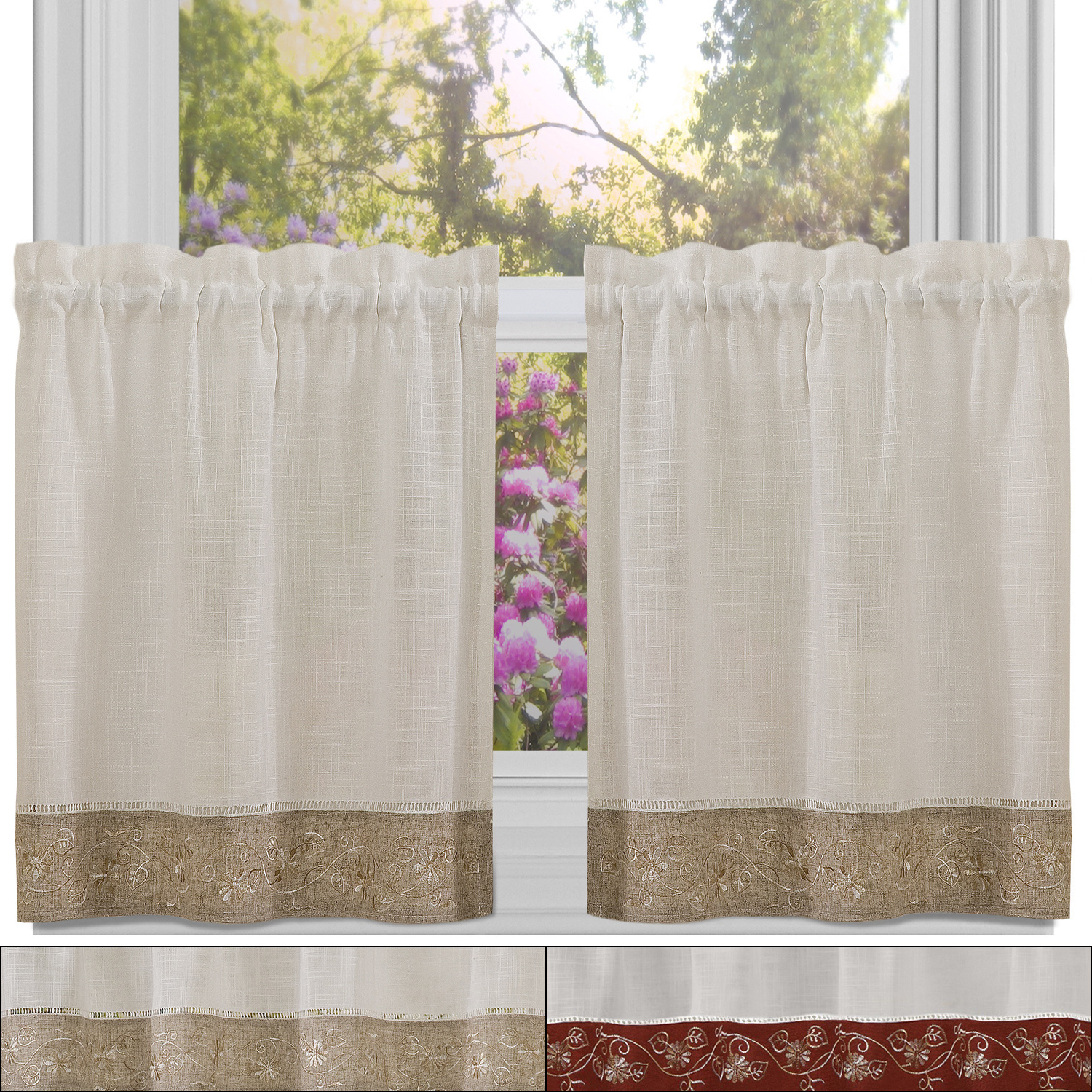"Details About Oakwood Linen Style Kitchen Window Curtain 24"" X 58"" Tier Pair In Most Up To Date Oakwood Linen Style Decorative Curtain Tier Sets (View 6 of 20)"