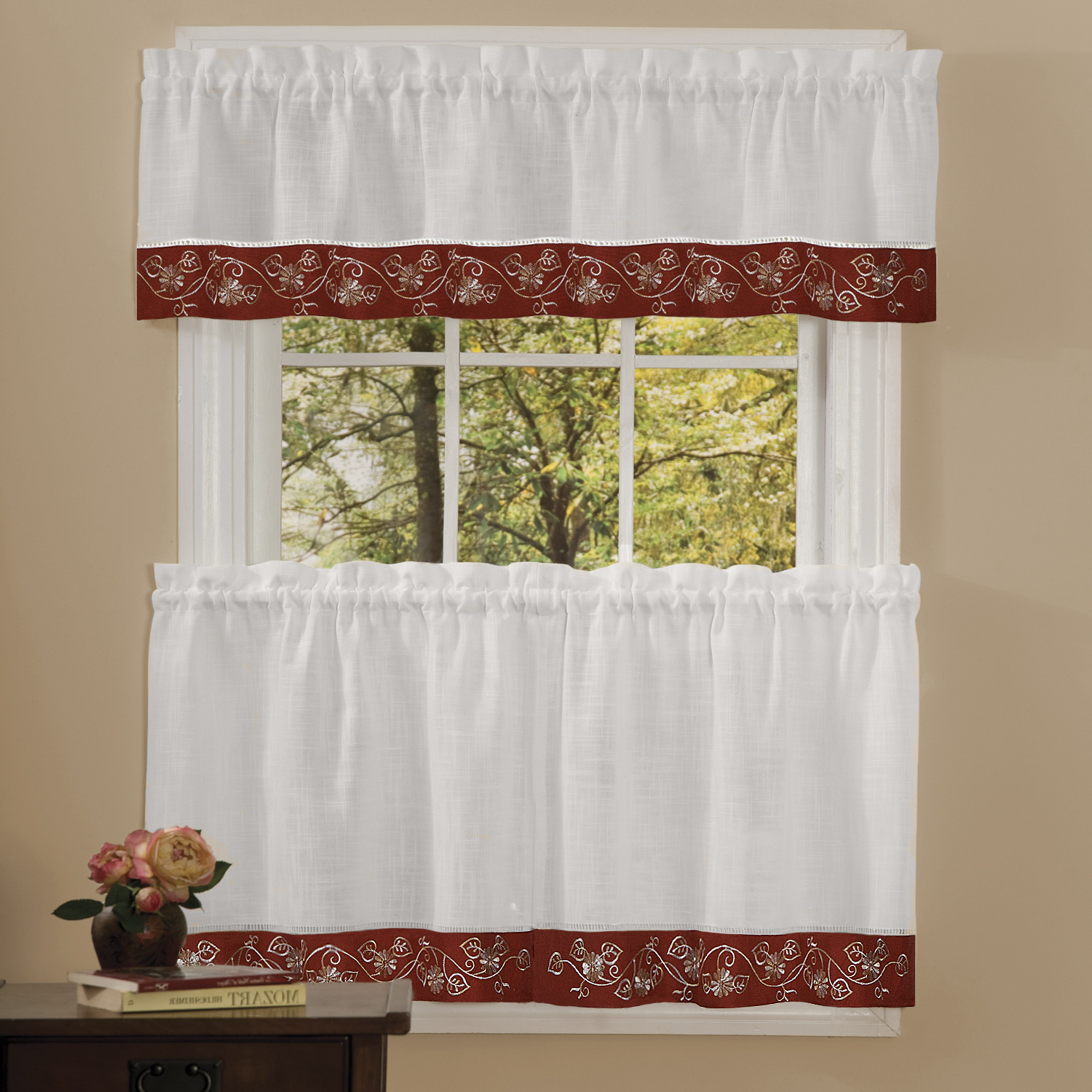 Details About Oakwood Linen Style Kitchen Window Curtains Tiers Or Valance  Burgundy For Most Popular Oakwood Linen Style Decorative Curtain Tier Sets (View 7 of 20)