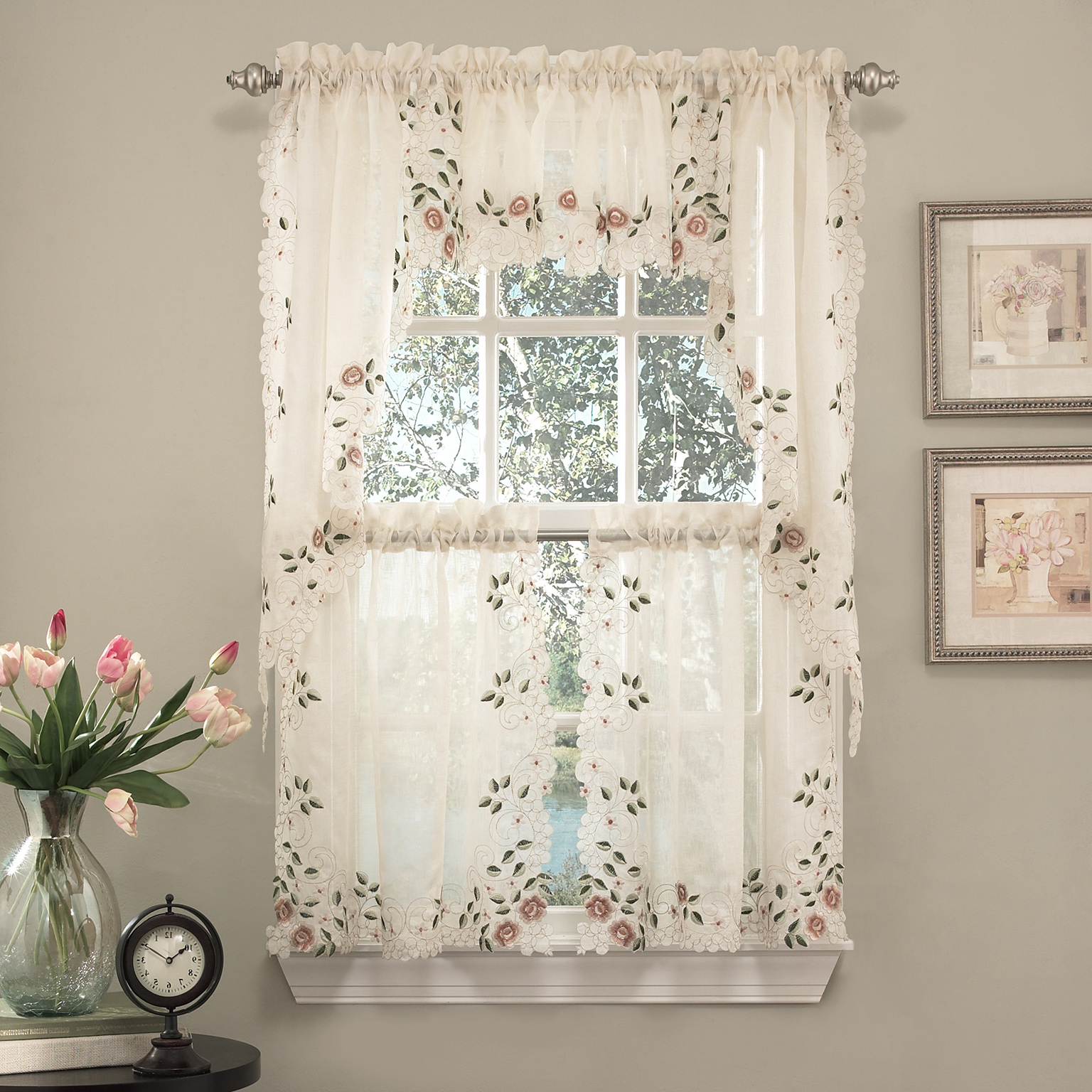 """Details About Rosemary Floral Embroidered Semi Sheer Kitchen Curtain 36"""" Tier Swag Valance Set Intended For Well Known Floral Lace Rod Pocket Kitchen Curtain Valance And Tiers Sets (View 3 of 20)"""