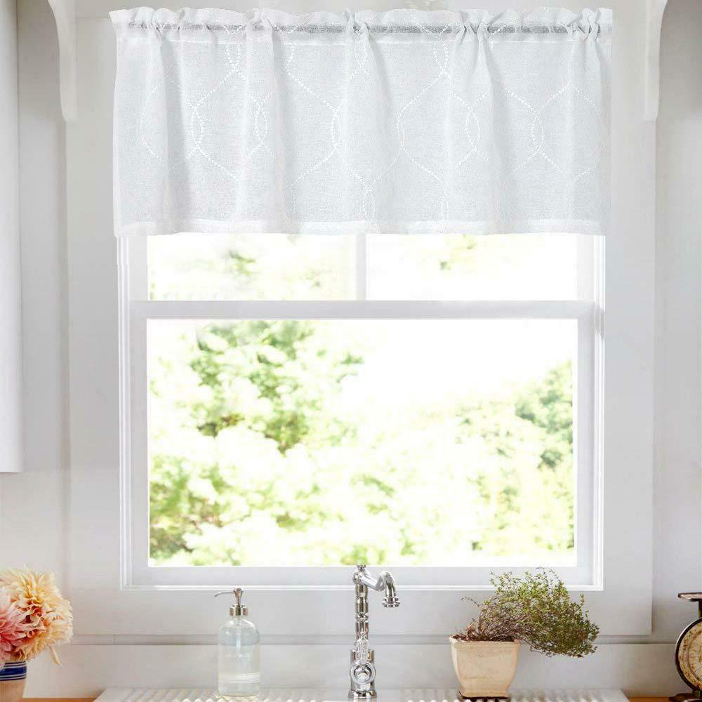 Details About Sheer Kitchen Valances Moroccan Trellis Pattern Embroidered Curtains Rod Pocket In 2021 Trellis Pattern Window Valances (View 16 of 20)