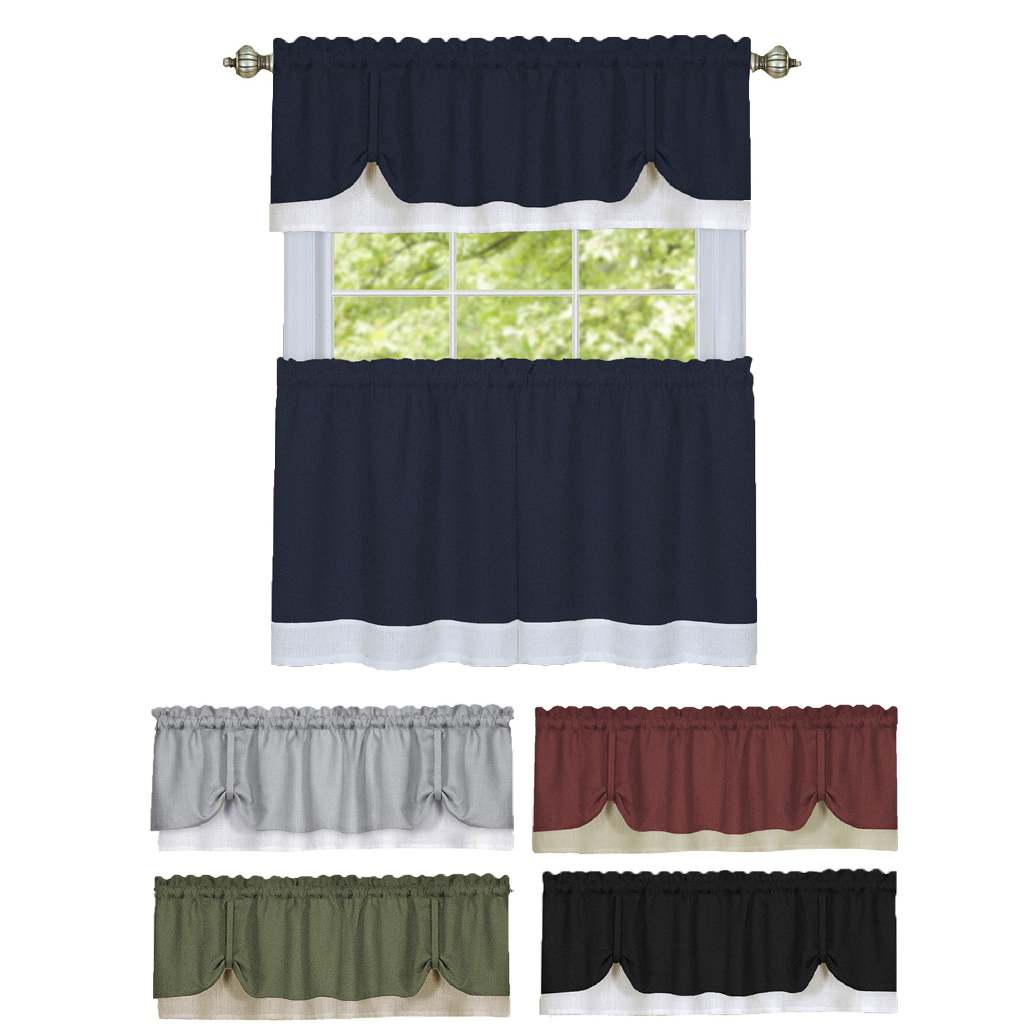 Details About Solid Window Curtain Double Layer Tier Pair & Valance Set Throughout Favorite Window Curtain Tier And Valance Sets (View 4 of 20)