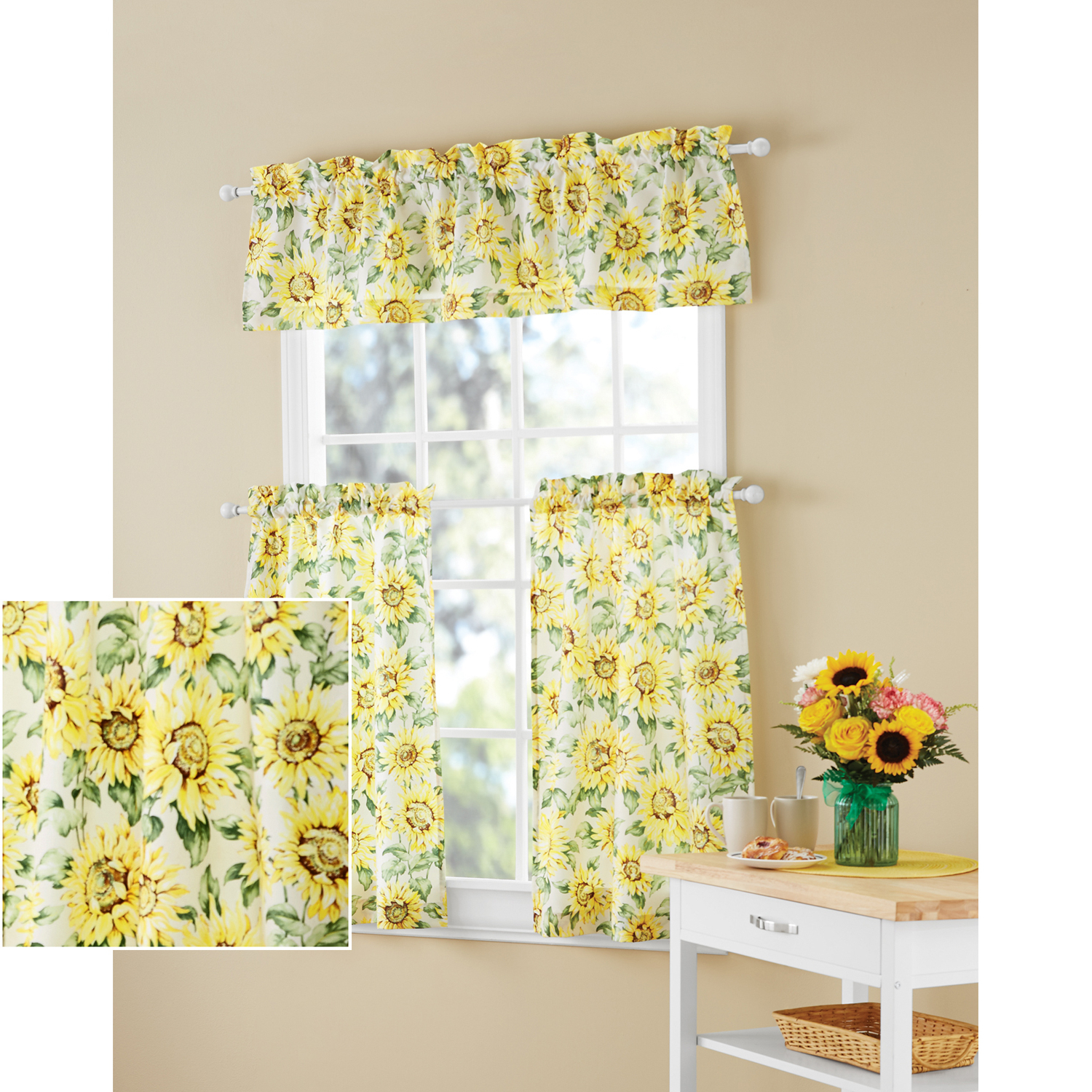 Details About Sunflower 3 Piece Kitchen Curtain Tier And Valance Set Home Decor Room Window Intended For 2021 Sunflower Cottage Kitchen Curtain Tier And Valance Sets (View 13 of 20)