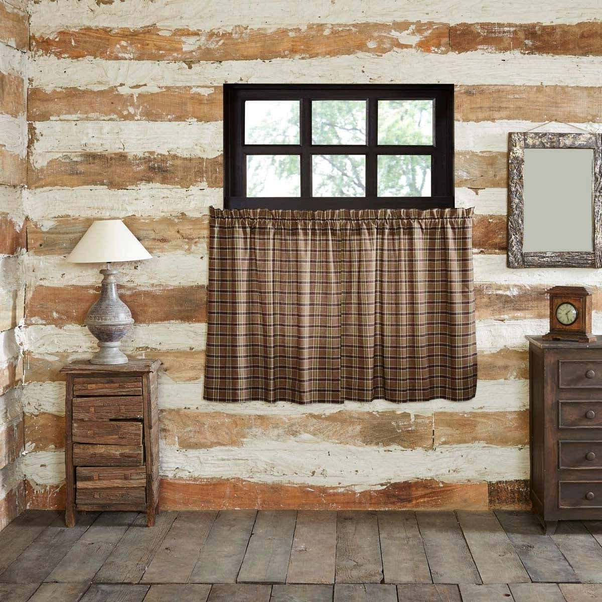 Details About Tan Rustic Kitchen Curtains Vhc Wyatt Tier Pair Rod Pocket Raven, Khaki, Moss Gr Within Most Popular Rustic Kitchen Curtains (View 14 of 20)