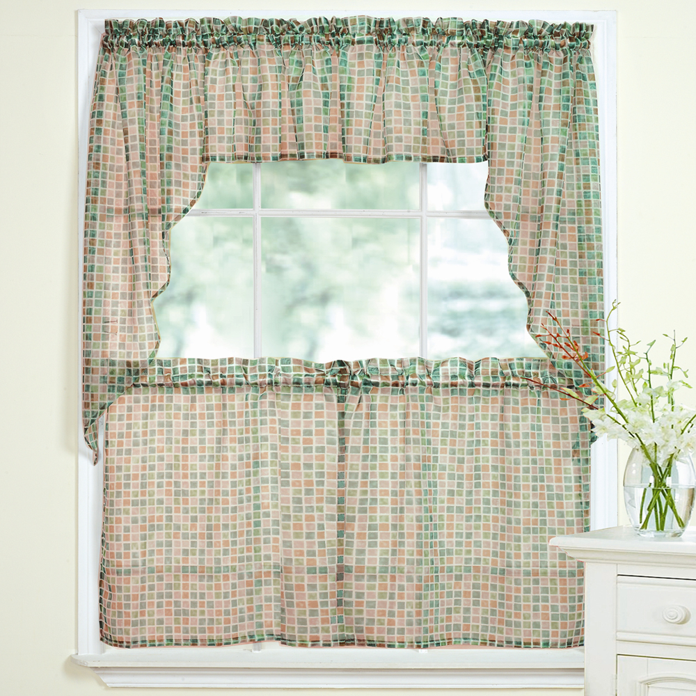 Details About Tiles Block Print Beige/black Sheer Voile Kitchen Curtains Tier, Valance Or Swag With Regard To Recent Elegant White Priscilla Lace Kitchen Curtain Pieces (View 17 of 20)