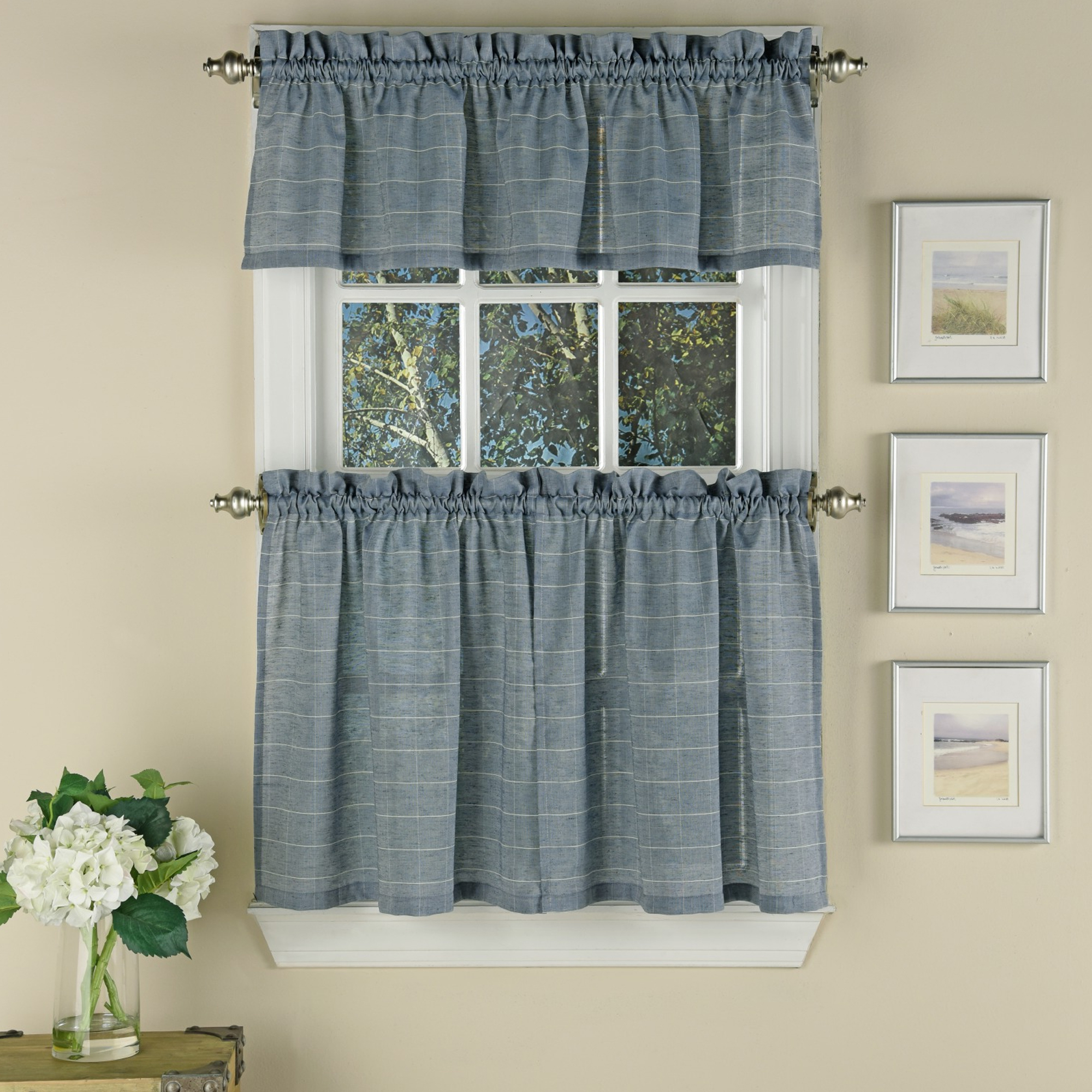 Details About Vue Supple Woven Window Pane Pattern Kitchen Curtain Tiers Or  Valance Blue For Fashionable Kitchen Curtain Tiers (View 1 of 20)