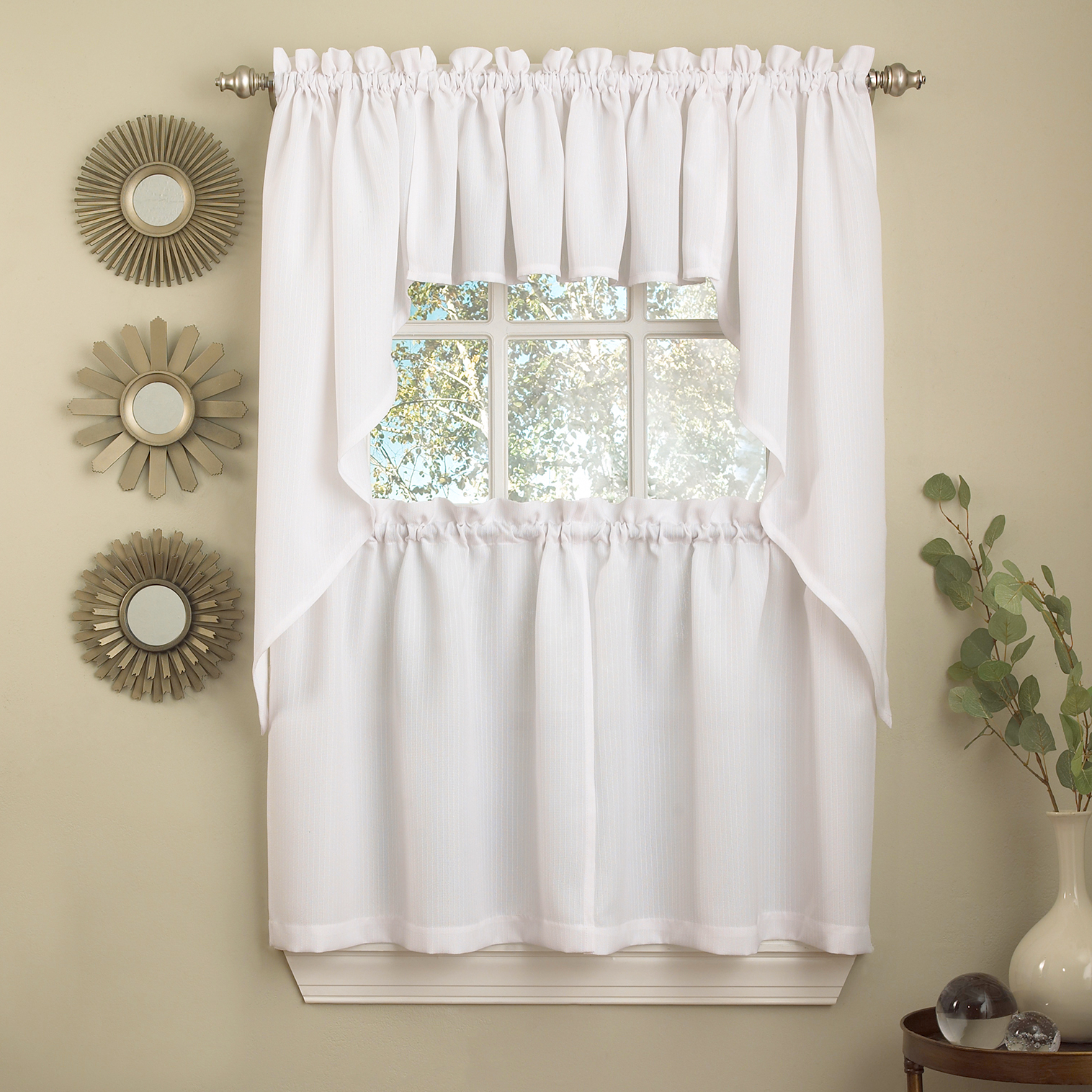 Details About White Solid Opaque Ribcord Kitchen Curtains – Choice Of Tiers Valance Or Swag Regarding Well Known Semi Sheer Rod Pocket Kitchen Curtain Valance And Tiers Sets (View 13 of 20)