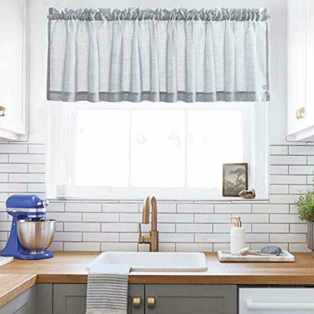 Details About Xwtex Grey Sheer Curtains Valance Semi Sheer Window Curtain  For Kitchen/café For Best And Newest Coffee Drinks Embroidered Window Valances And Tiers (View 12 of 20)