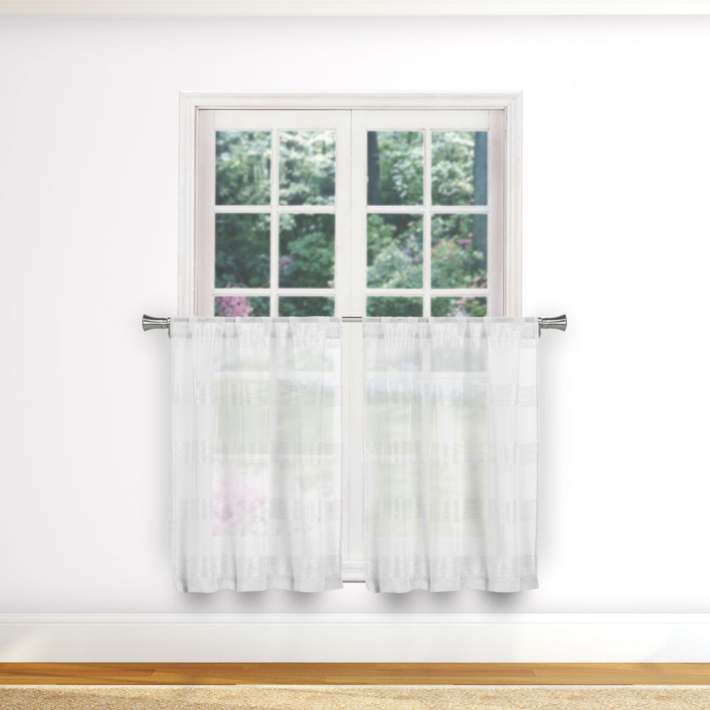 Dexter 24 Inch Tier Pairs In Green For Newest White Sheer Pure 2 Pc Café/tier Curtain Set Stripe Design (2) Tiers 36in L Each (View 5 of 20)