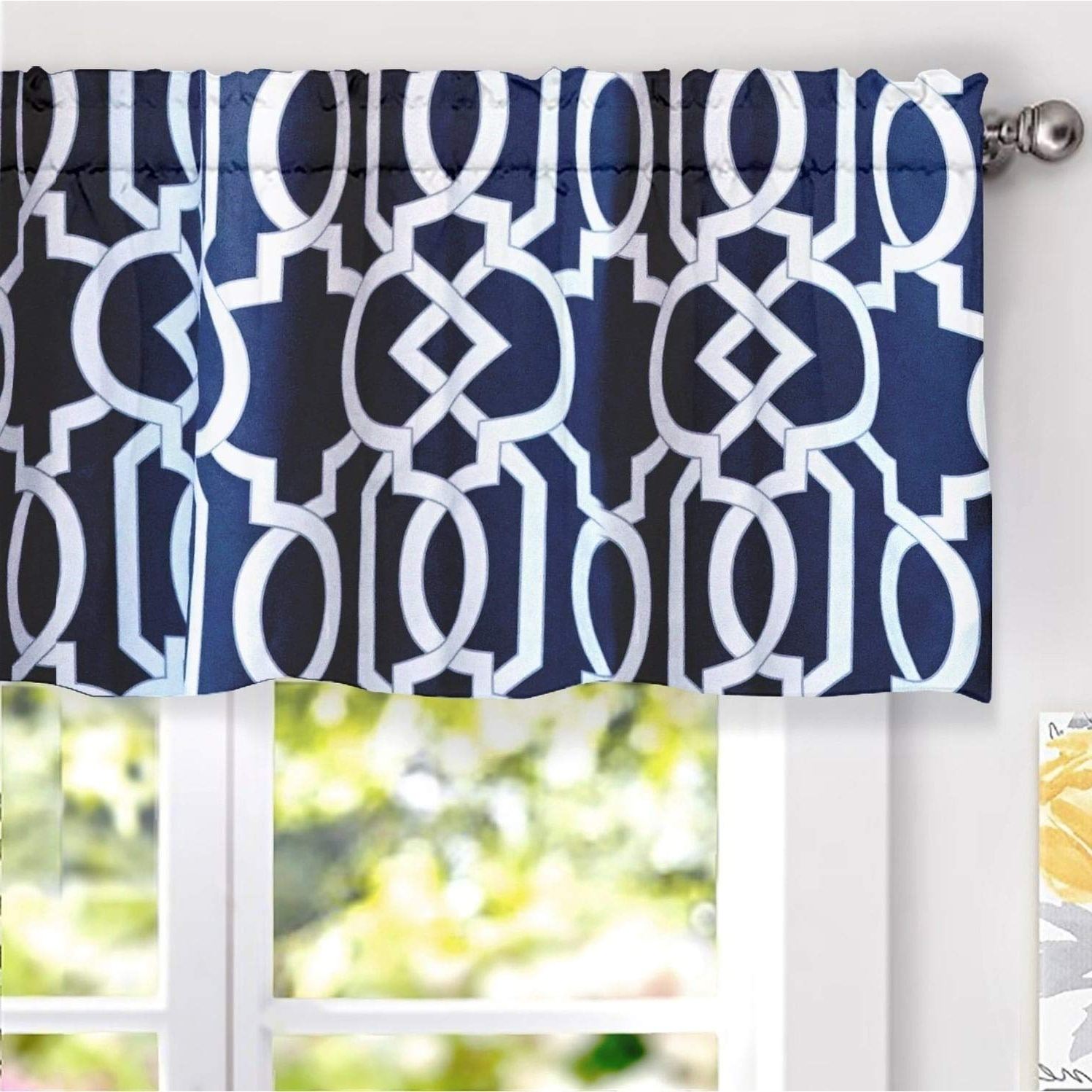 Driftaway Abigail Geometric Trellis Pattern Window Curtain Valance Rod Pocket 52 Inch18 Inch Navy Intended For Latest Trellis Pattern Window Valances (View 1 of 20)