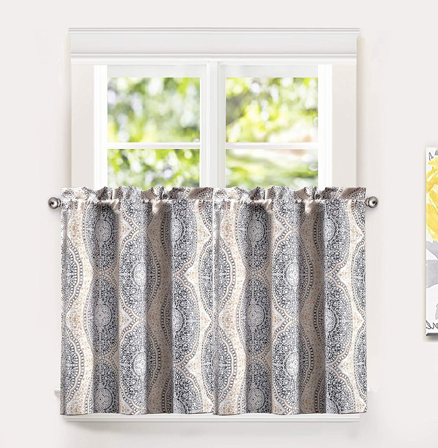 Driftaway Adrianne Thermal And Room Darkening Kitchen Tier Window Treatment Set Of 2 Each 30 Inch36 Inch Plus 1 Inch Header Beige And Gray For Well Liked Pastel Damask Printed Room Darkening Kitchen Tiers (View 2 of 20)