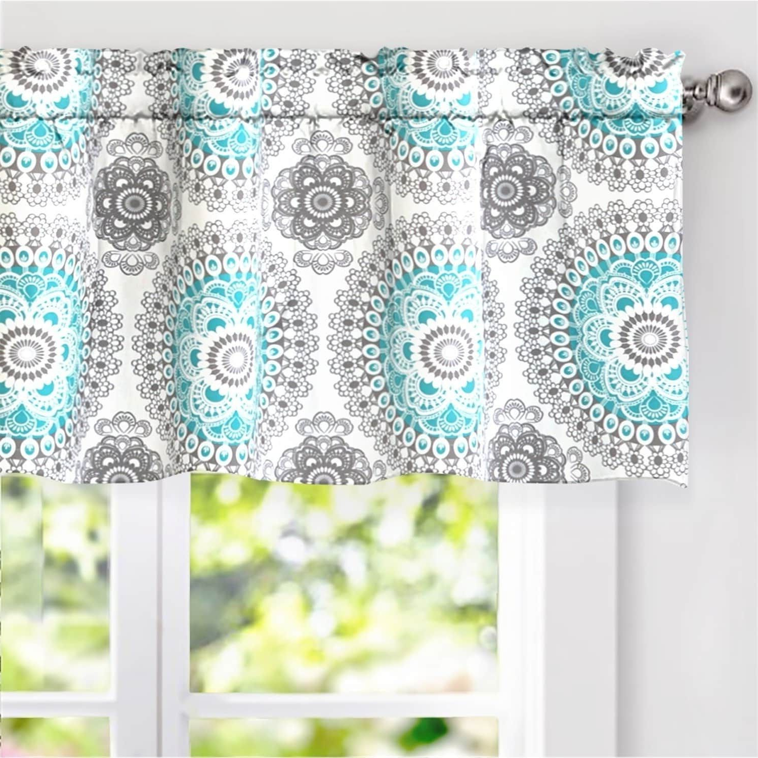 """Driftaway Bella Medallion Window Curtain Valance, 52"""" Wide X Intended For Best And Newest Medallion Window Curtain Valances (View 2 of 20)"""