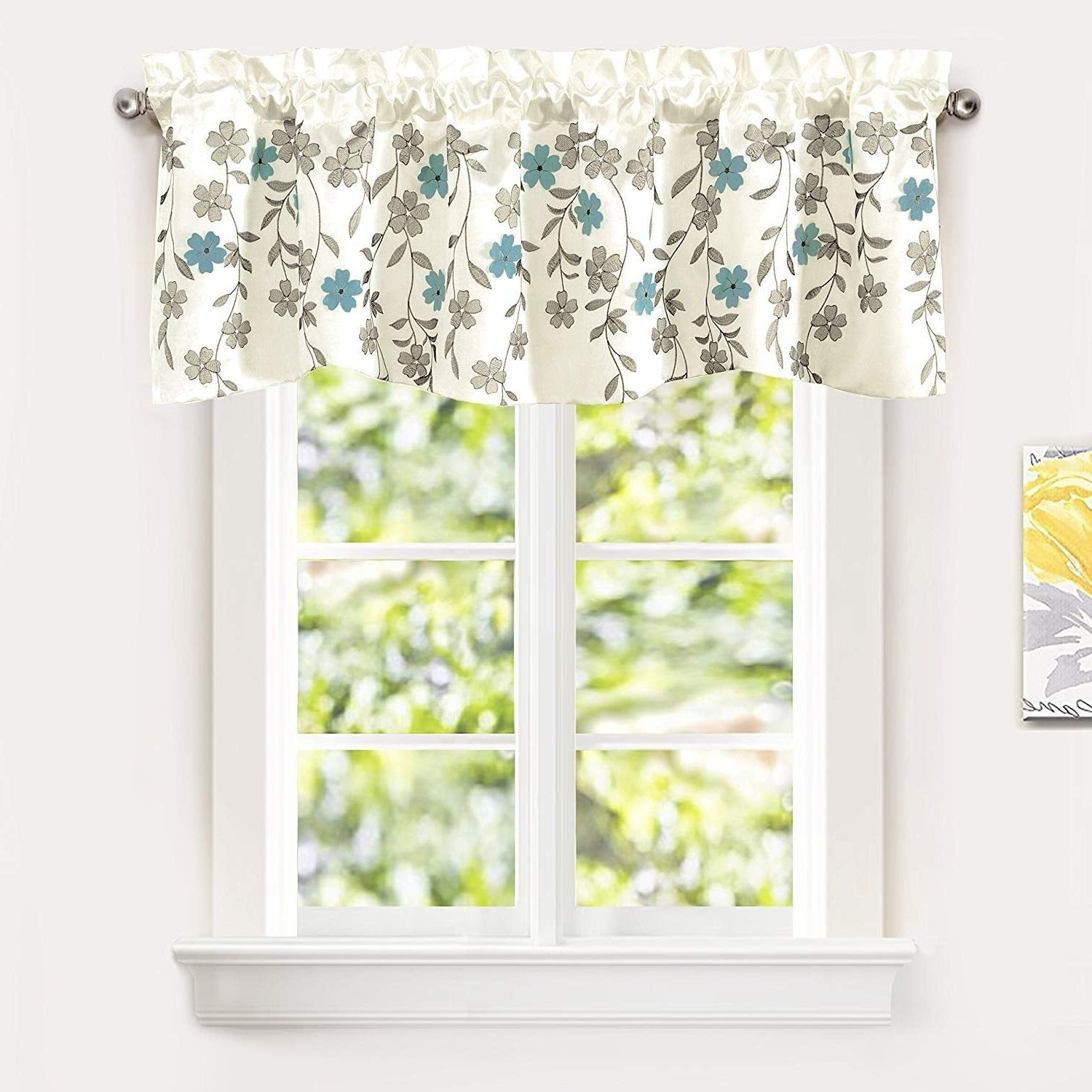 Driftaway Isabella Faux Silk Embroidered Crafted Flower Kitchen Swag Valance In Current Floral Embroidered Faux Silk Kitchen Tiers (View 7 of 20)
