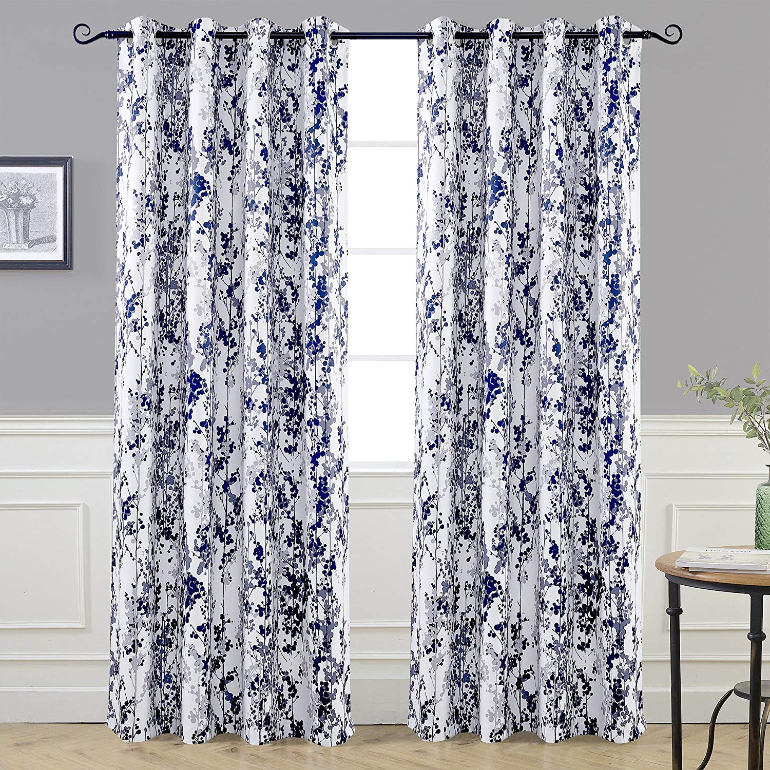 Driftaway Leah Abstract Floral Blossom Ink Painting Room Darkening Thermal Insulated Grommet Unlined Window Curtains 2 Panels Each Size 52 Inch84 In Famous Floral Blossom Ink Painting Thermal Room Darkening Kitchen Tier Pairs (View 2 of 20)
