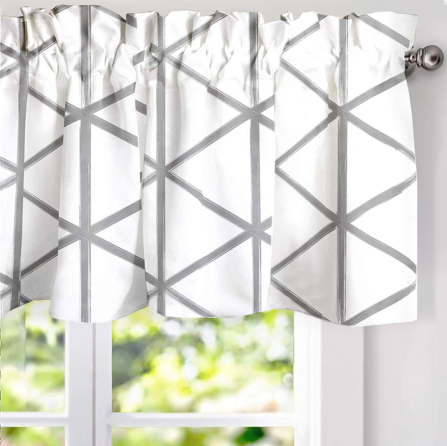 Driftaway Raymond Geometric Triangle Trellis Pattern Lined Thermal Insulated Energy Saving Window Curtain Valance For Living Room, 2 Layer, Rod Throughout Preferred Trellis Pattern Window Valances (View 12 of 20)