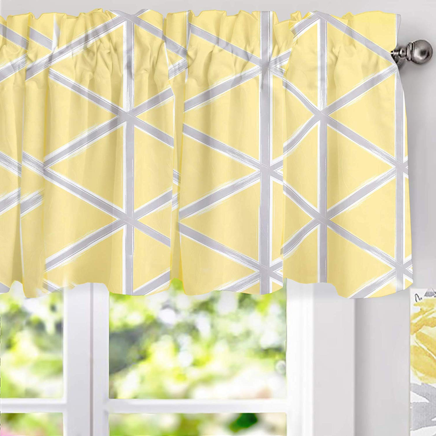Driftaway Raymond Geometric Triangle Trellis Pattern Lined Thermal Insulated Energy Saving Window Curtain Valance For Living Room 2 Layers 52 Inch Regarding Widely Used Trellis Pattern Window Valances (View 15 of 20)