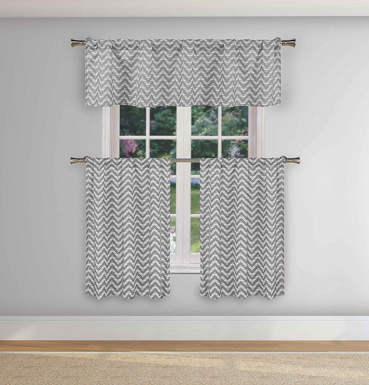 Duck River Textile Ayeris Chevron Stripe Print Kitchen Tier & Valance Set (View 7 of 20)