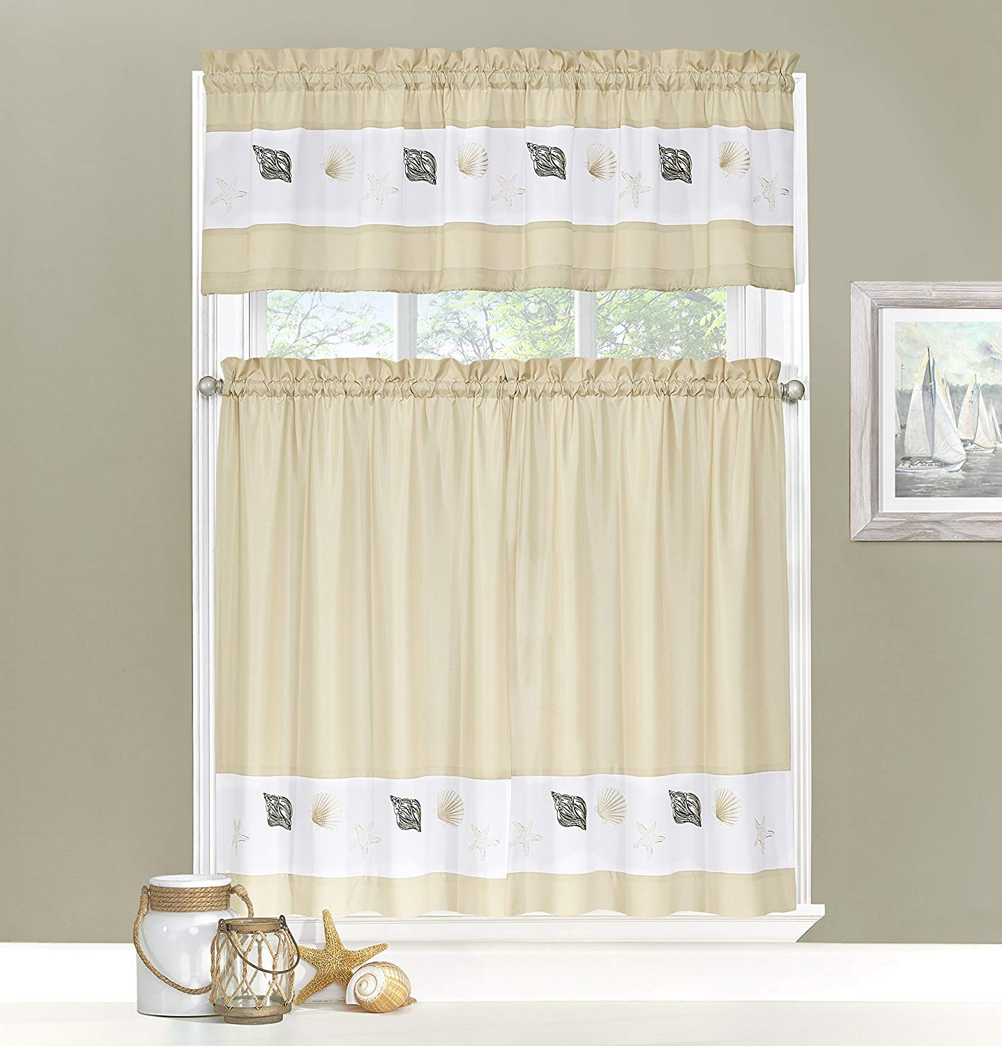 Ehs 14377052036Ecr Coastal 52 Inch36 Inch Tier And Valance Set, Ecru In Most Recently Released Coastal Tier And Valance Window Curtain Sets (Gallery 4 of 20)