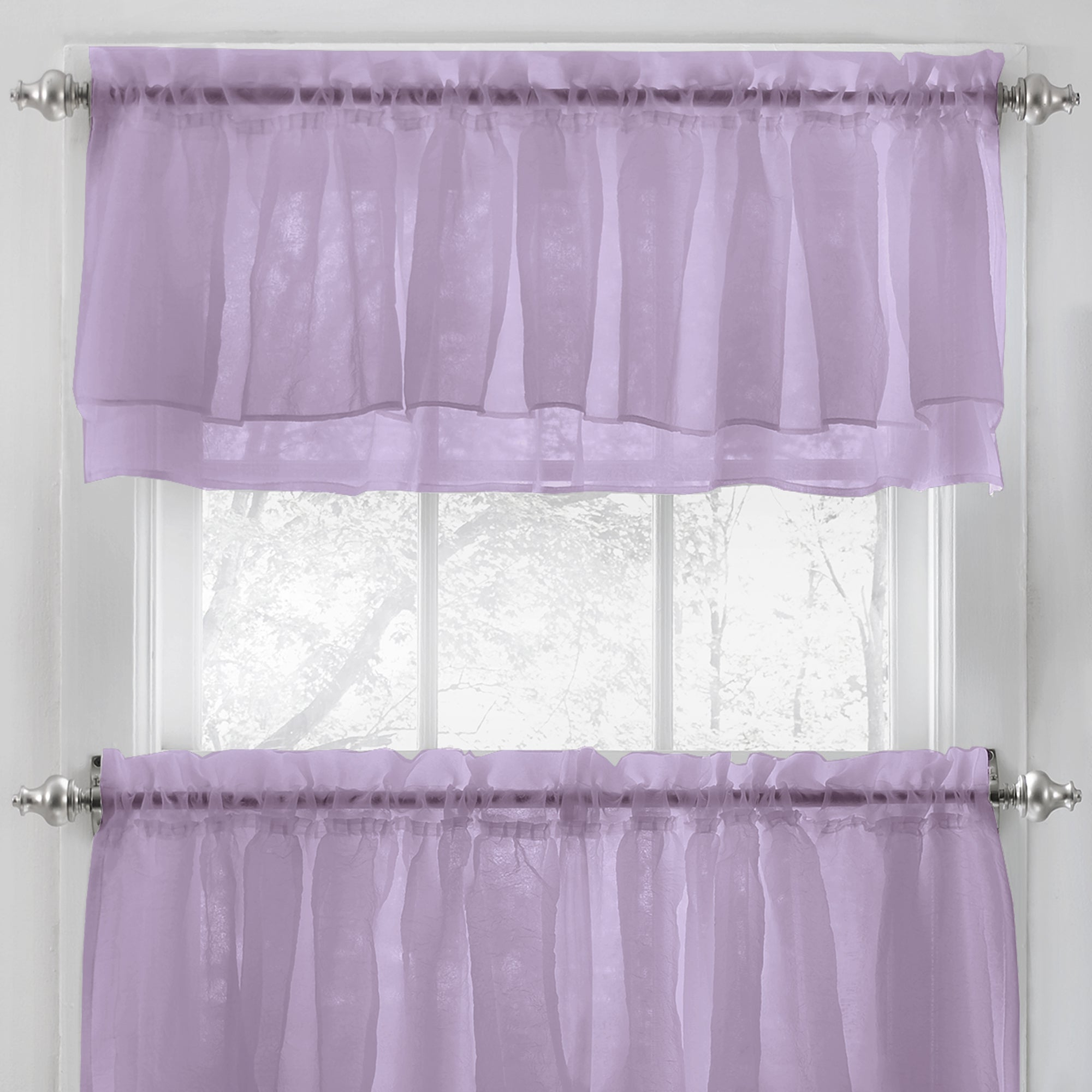 Elegant Crushed Voile Ruffle Blue/white/pink/purple/beige Window Curtain Pieces With Optional Valance And Tiers Throughout Well Known Elegant Crushed Voile Ruffle Window Curtain Pieces (View 10 of 20)
