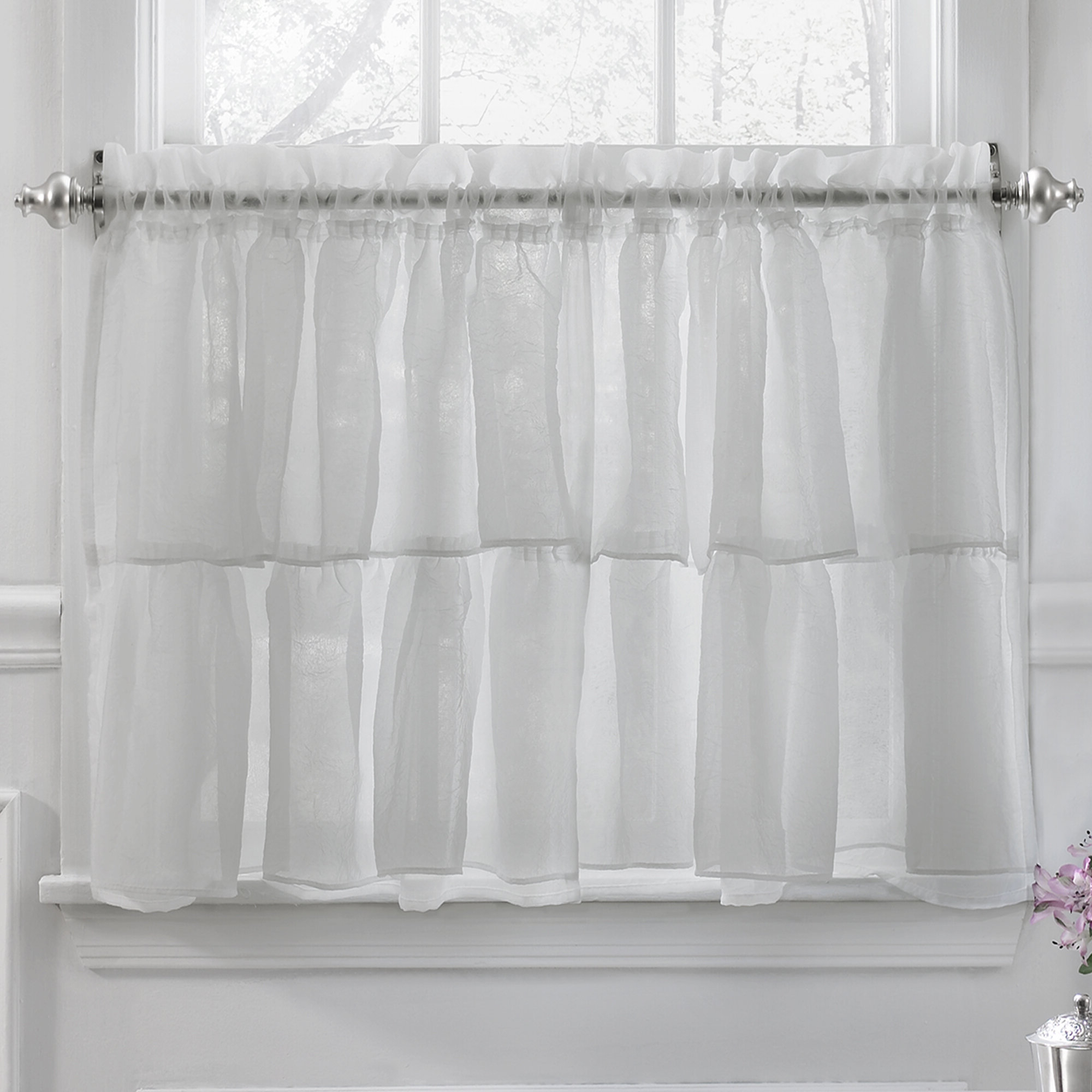 Elegant Crushed Voile Ruffle Kitchen Window Tier Cafe Curtain Throughout 2020 Classic Black And White Curtain Tiers (View 10 of 20)